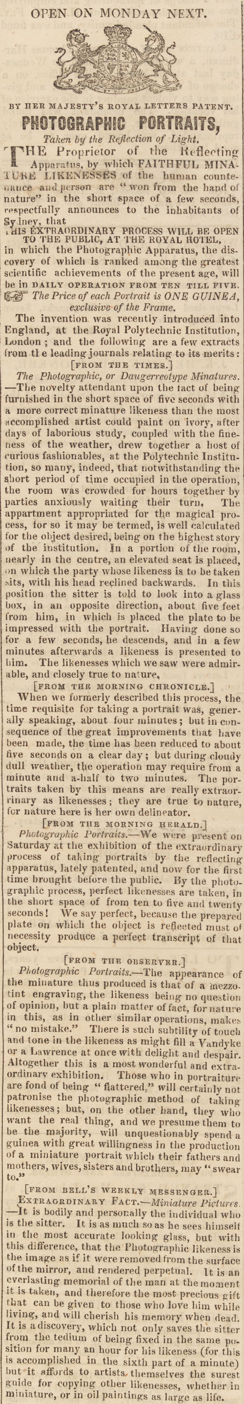 Advertisement, 'Photographic Portraits, Taken by the Reflection of Light', The Australian, 9 December 1842, p.1.