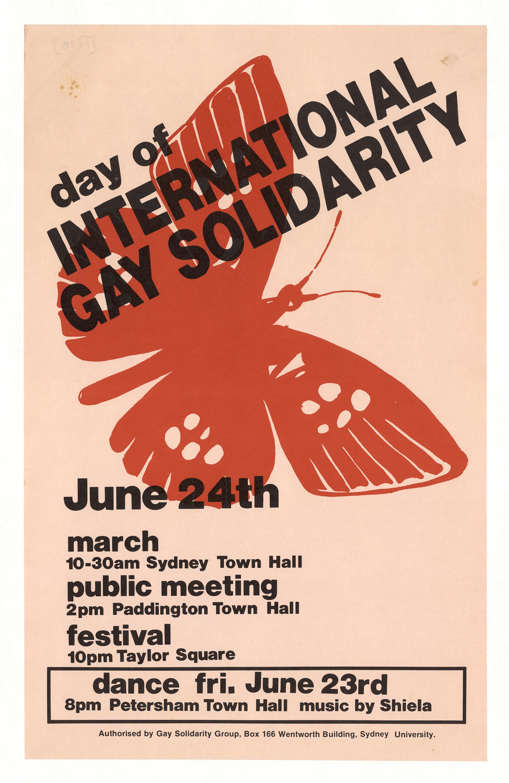 Day of International Gay Solidarity – 24 June: Designer: Chris Jones: Publisher: USYD Gay Solidarity Group.