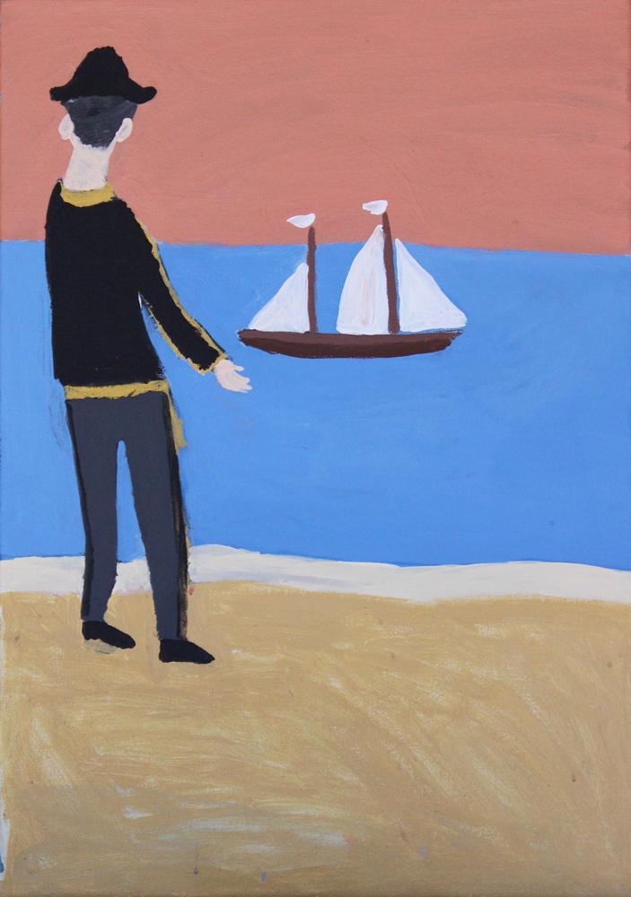 Painting of a man on shore looking at a sailing ship out at sea.