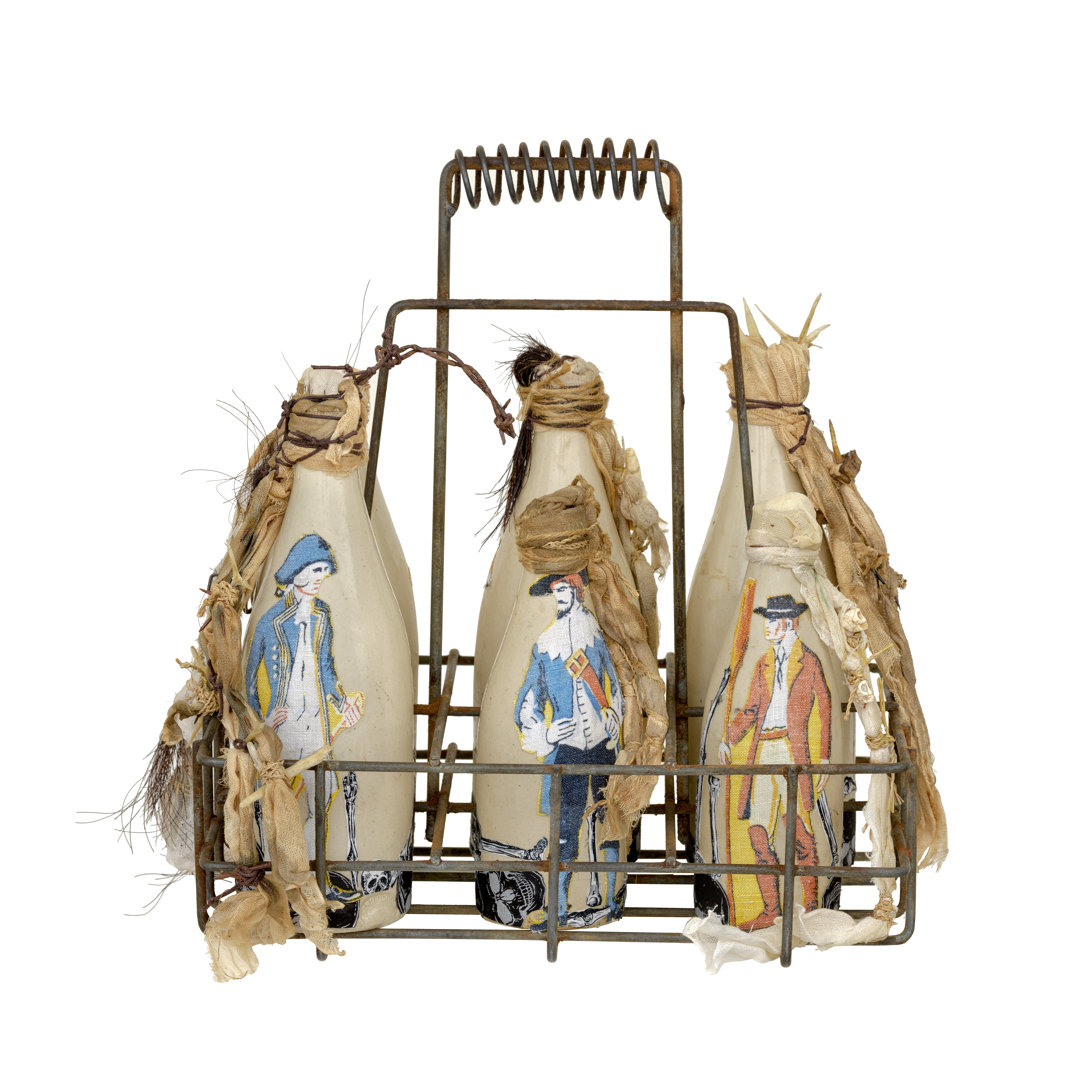 Bottles with painted-on images of men in British naval dress, in a rusty metal carrier