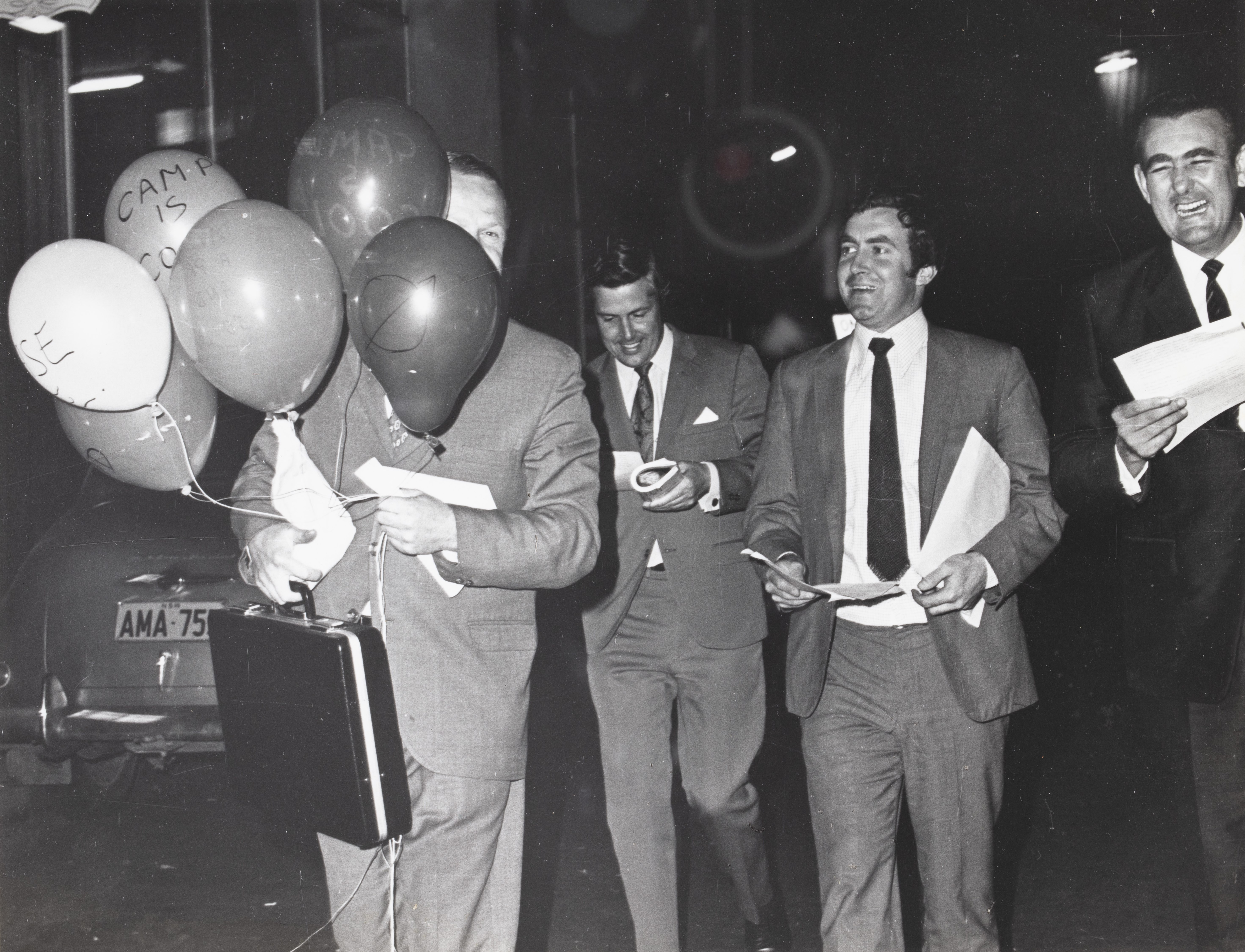 Politicians with balloons at CAMP Inc. demonstration outside NSW Liberal Party Headquarters, Ash St, Sydney.
