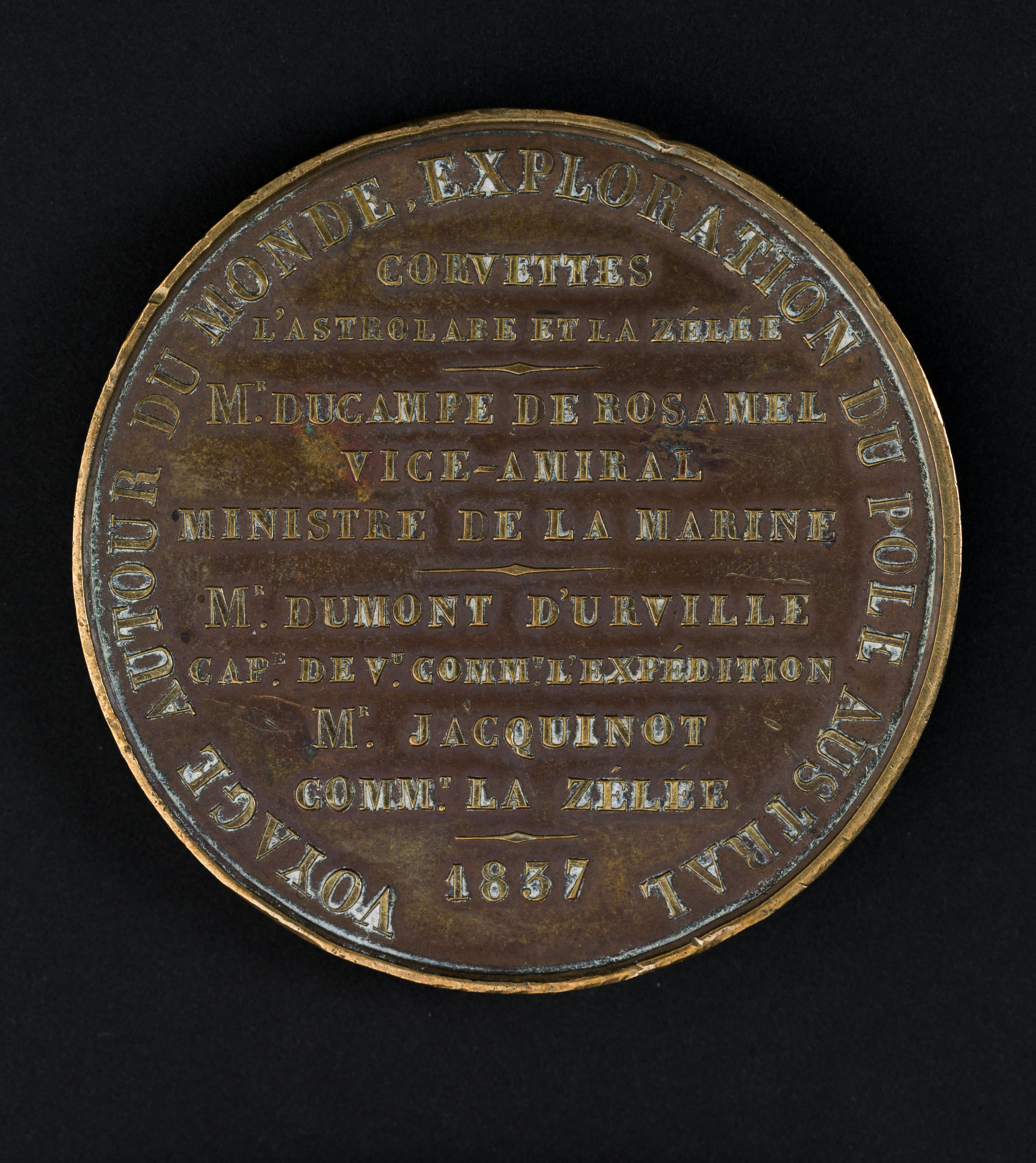Bronze medallion with textual reference to the 1837 voyage of L'Astrolabe and the Zelee under the command of M. Dumont D'Urville