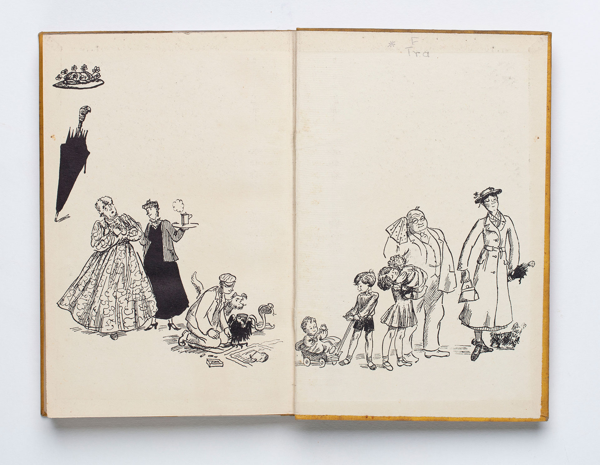 Endpapers with an illustration from Mary Poppins.