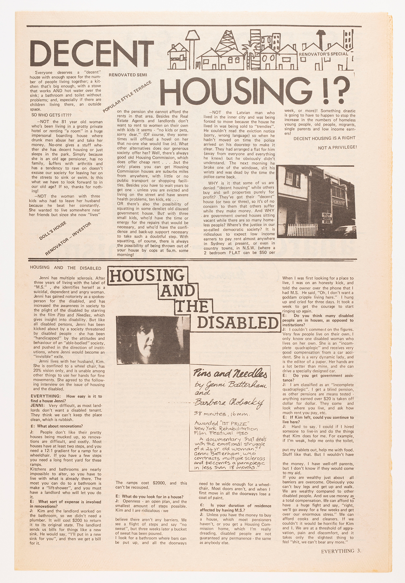 "A page from Everything magazine with the headlines ""Decent housing!?"" and ""Housing and the disabled""."