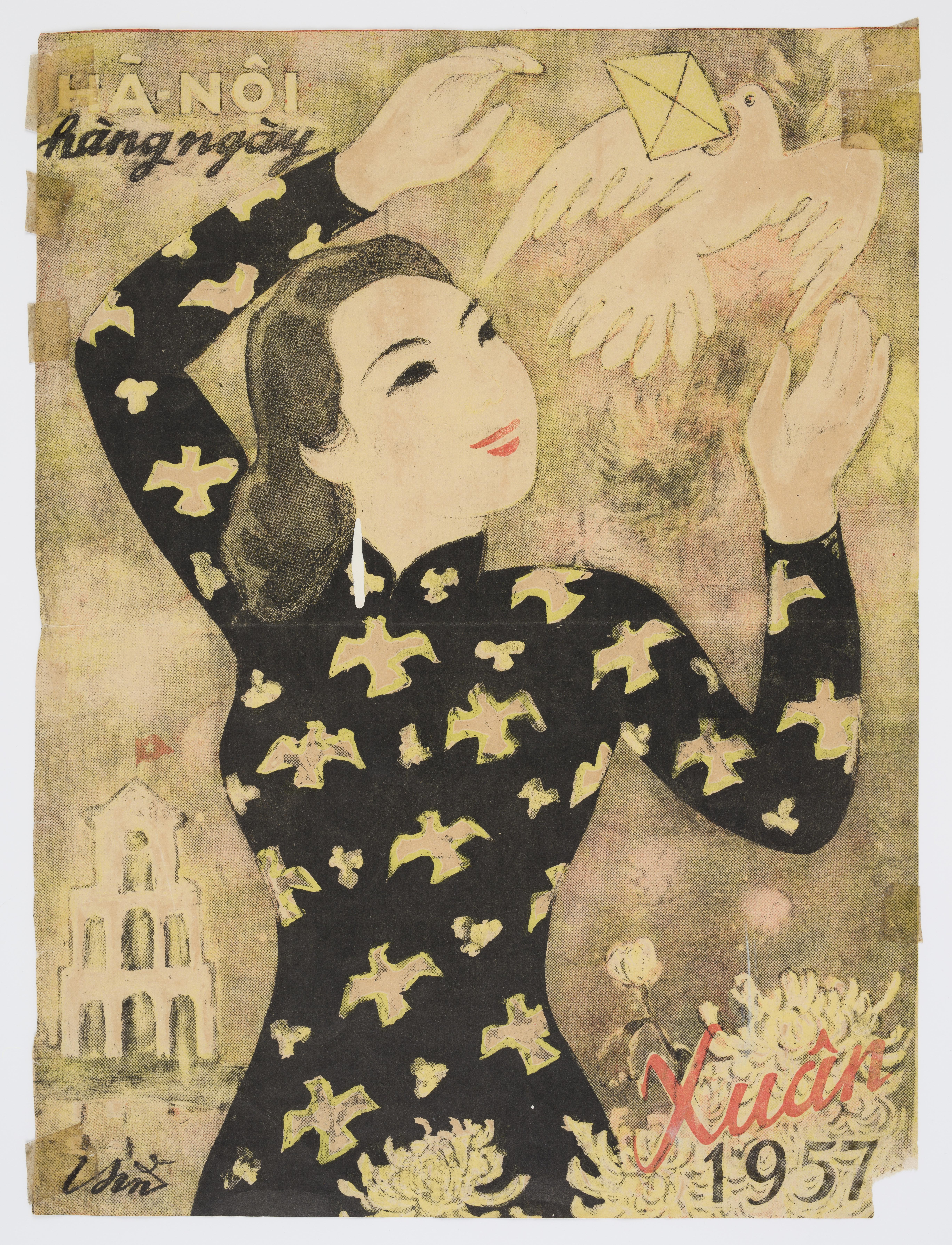 A poster print of a woman in traditional Vietnamese dress, reaching out to a dove.