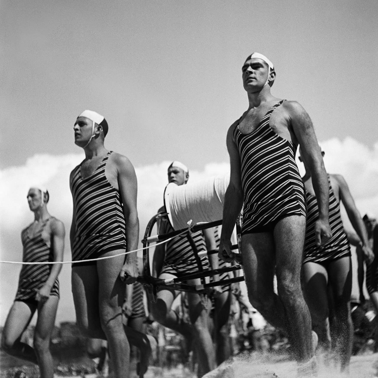 Freshwater Surf Life Saving Club reel team march-past, 3 April 1938. (Digital ID: a2391014)