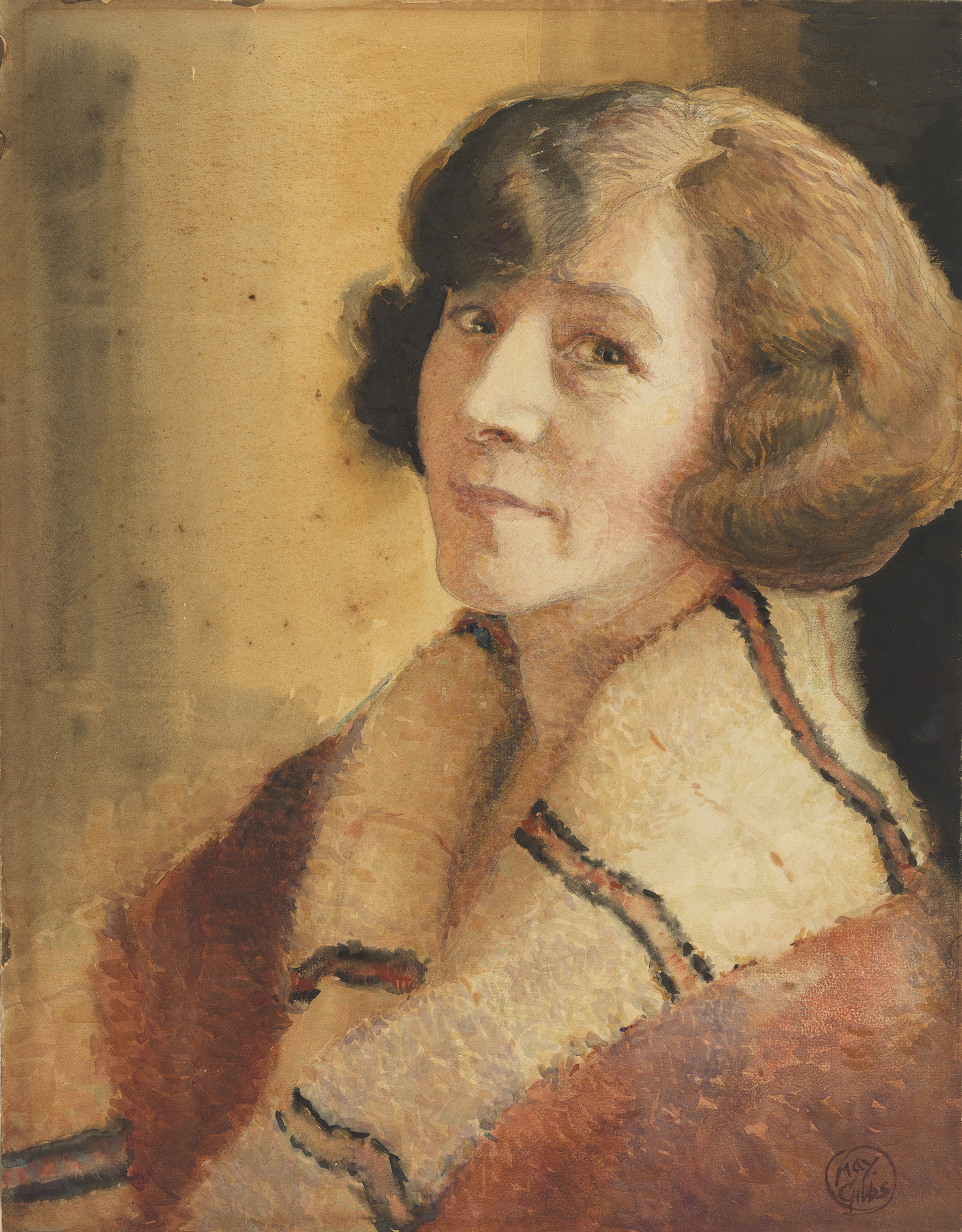 A painting of warm brown, yellow and orange tones depicts a middle-aged caucasian woman with short brow hair looking directly at the viewer.