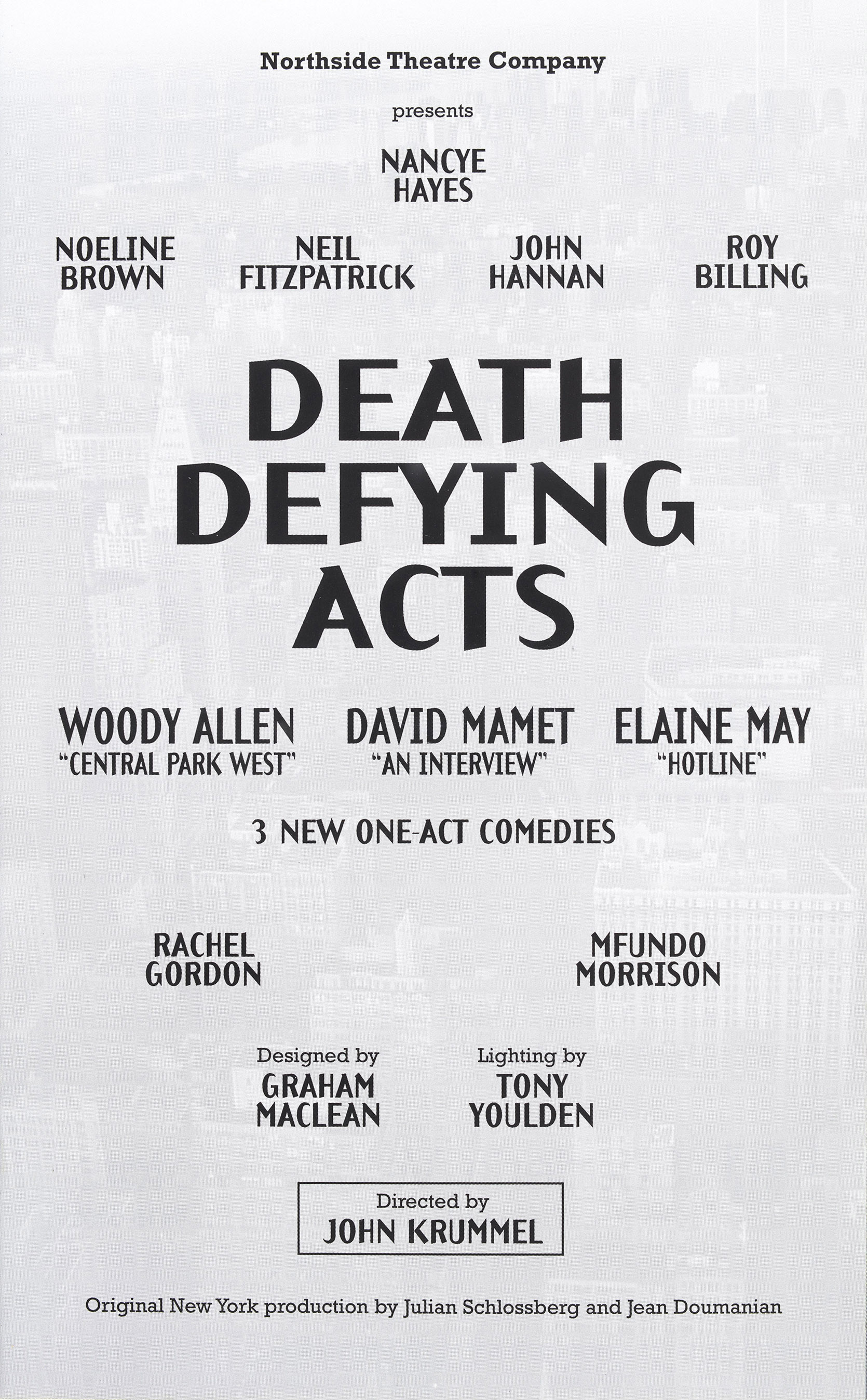 Program for Death Defying Acts, 1995 production, Marian Street Theatre records 1965–2002, box 8