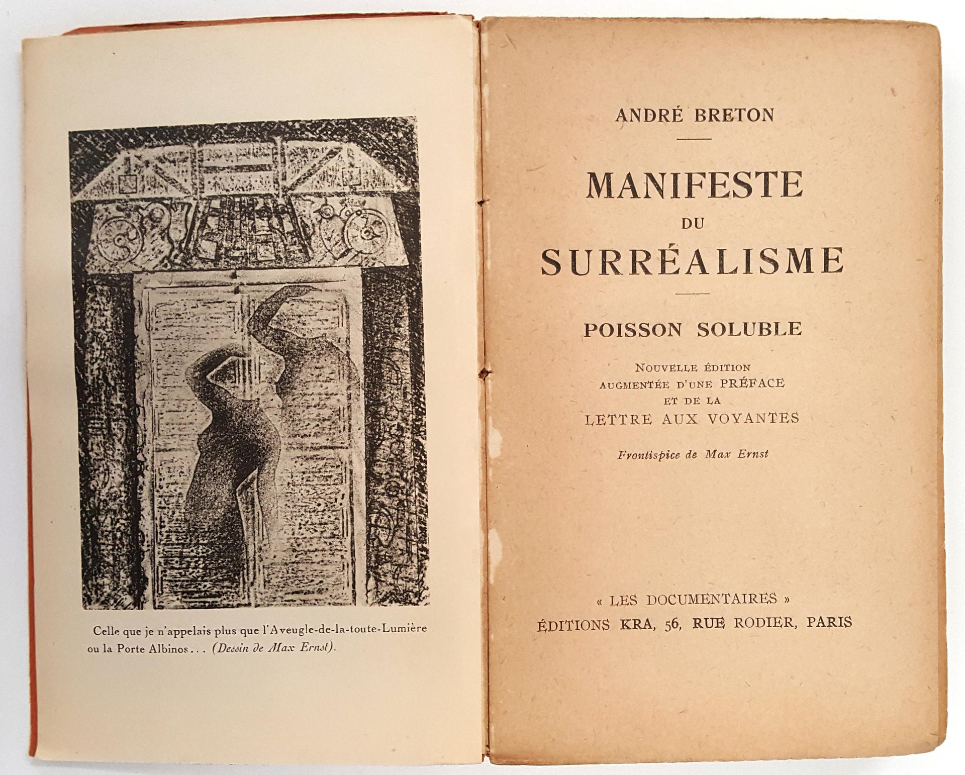Manifeste du Surrealisme [and] Poisson Soluble, Lettre aux voyantes, by Andre Breton, Paris, Simon Kra, 1929