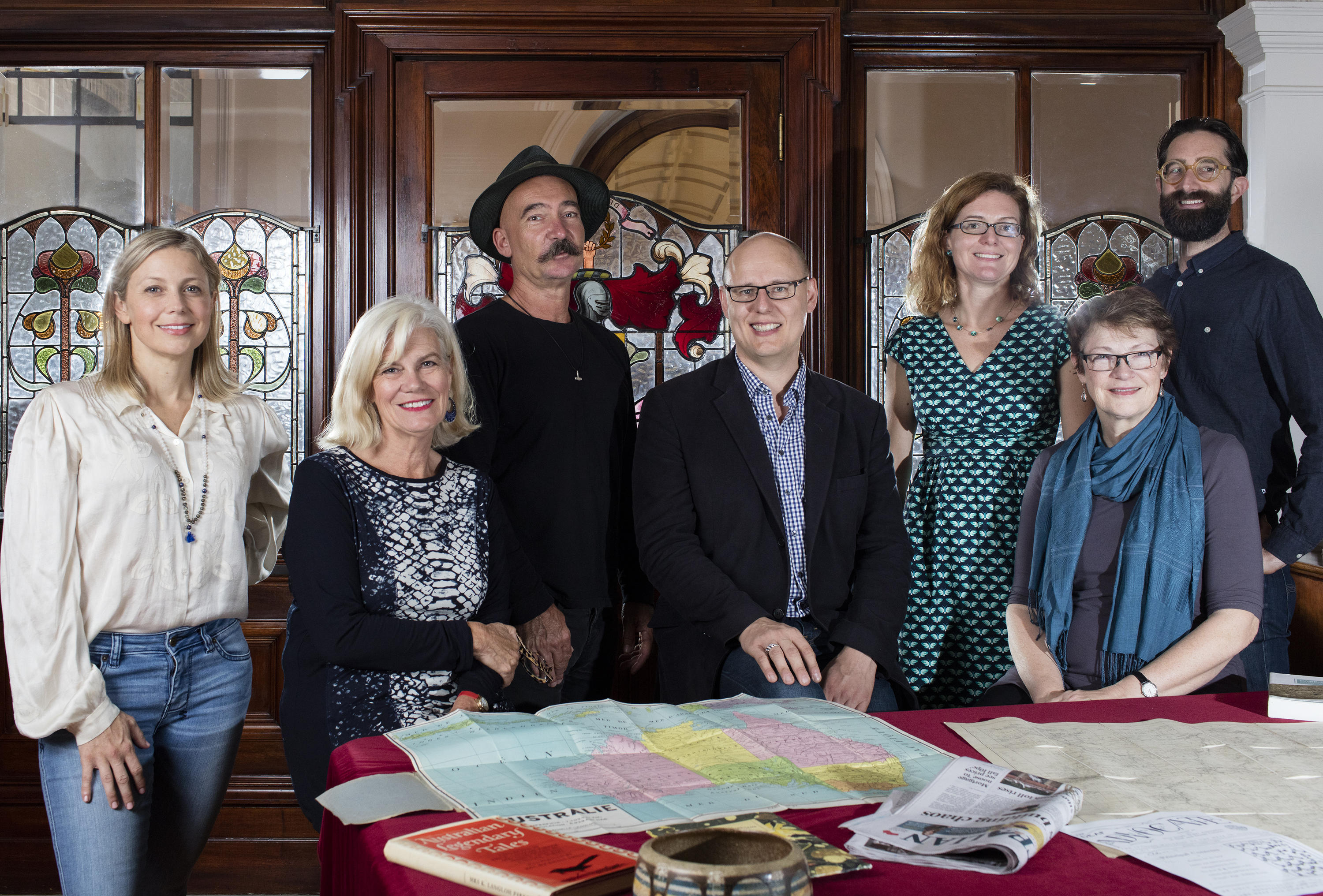 State Library of NSW Welcomes 2017 Fellows from left to right: Rachael Coopes, Jane Singleton, Stephen Gapps, Robert Crawford, Isabella Alexander, Breda Carty and Lee Stickells