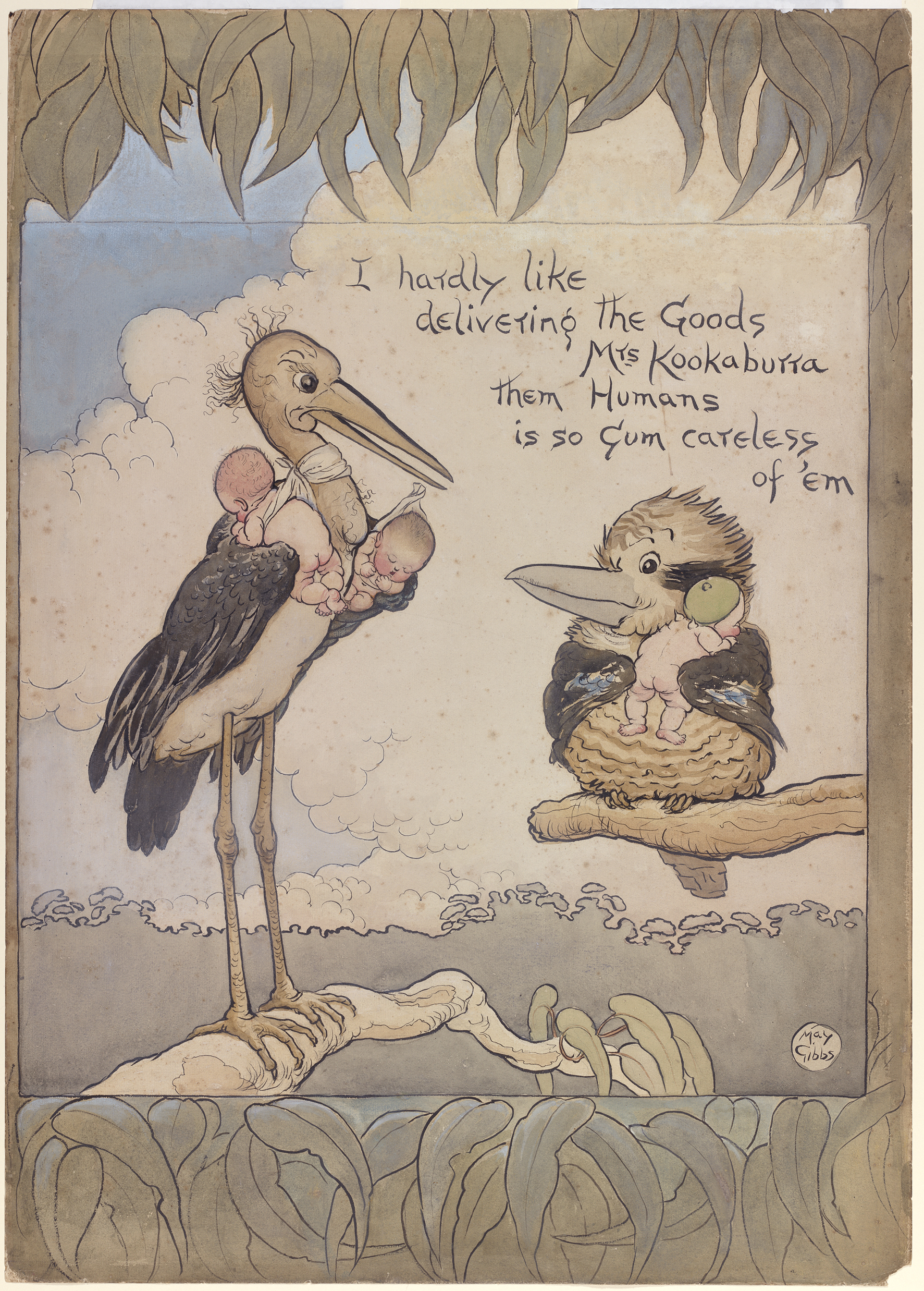 A hand drawn illustration of a stork, holding two babies, having delivered another baby to a Kookaburra
