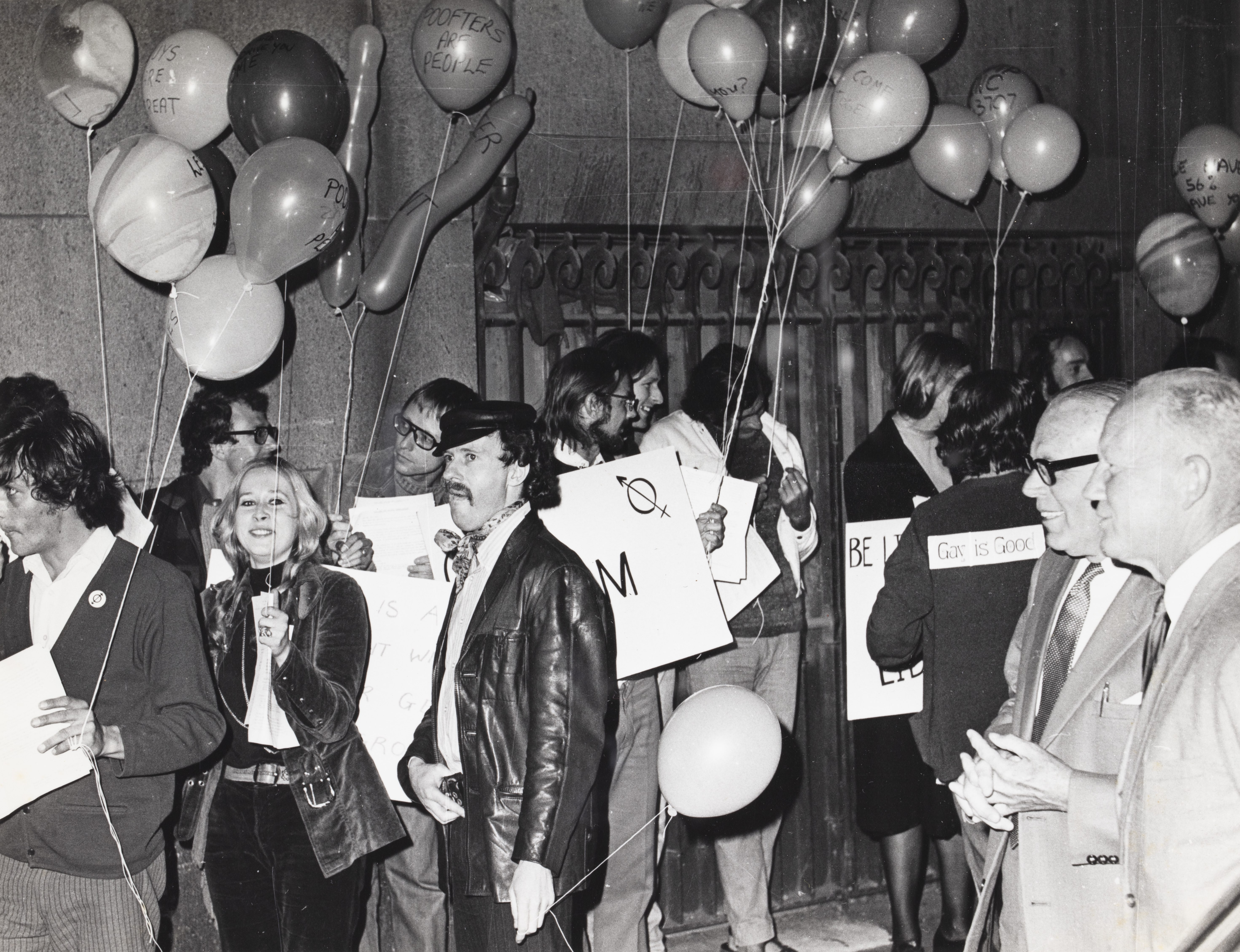 Lesbians, Gay men and their supporters at CAMP Inc. demonstration outside NSW Liberal Party Headquarters, Ash St, Sydney. LEX WATSON COLLECTION