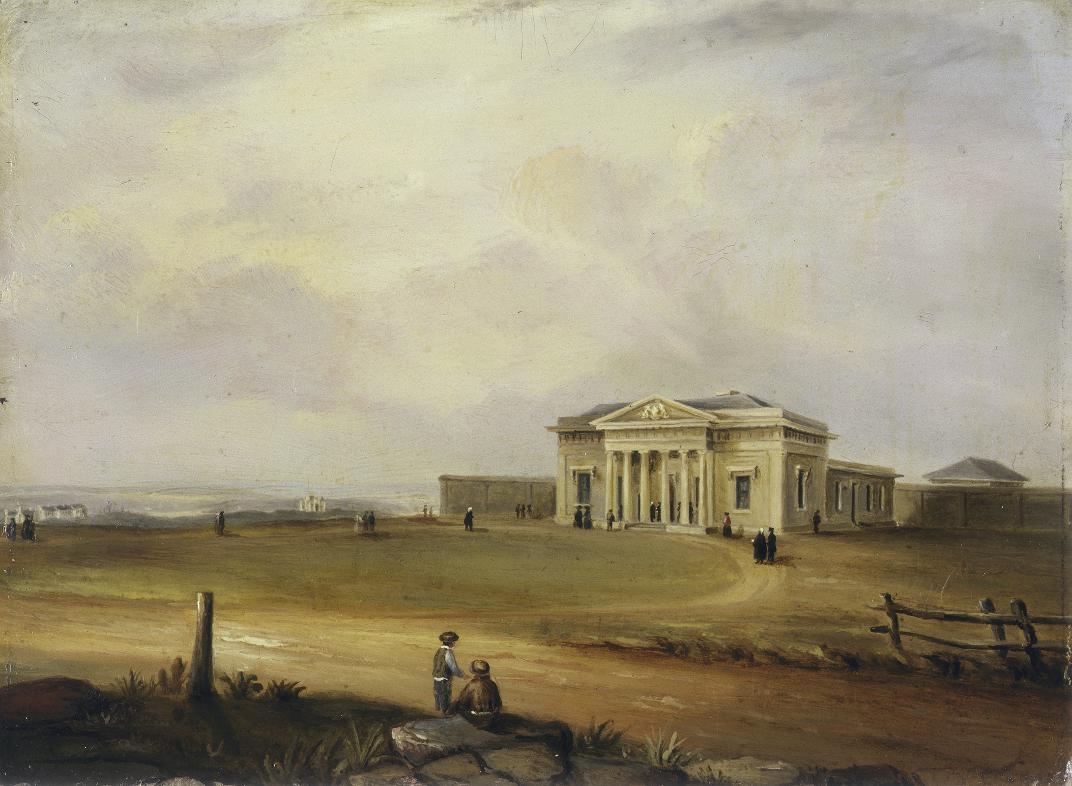 Oil painting of a grand sandstone building with various people on the forecourt including a wigged solicitor. In the background, two other large buildings appear on the otherwise empty country landscape.