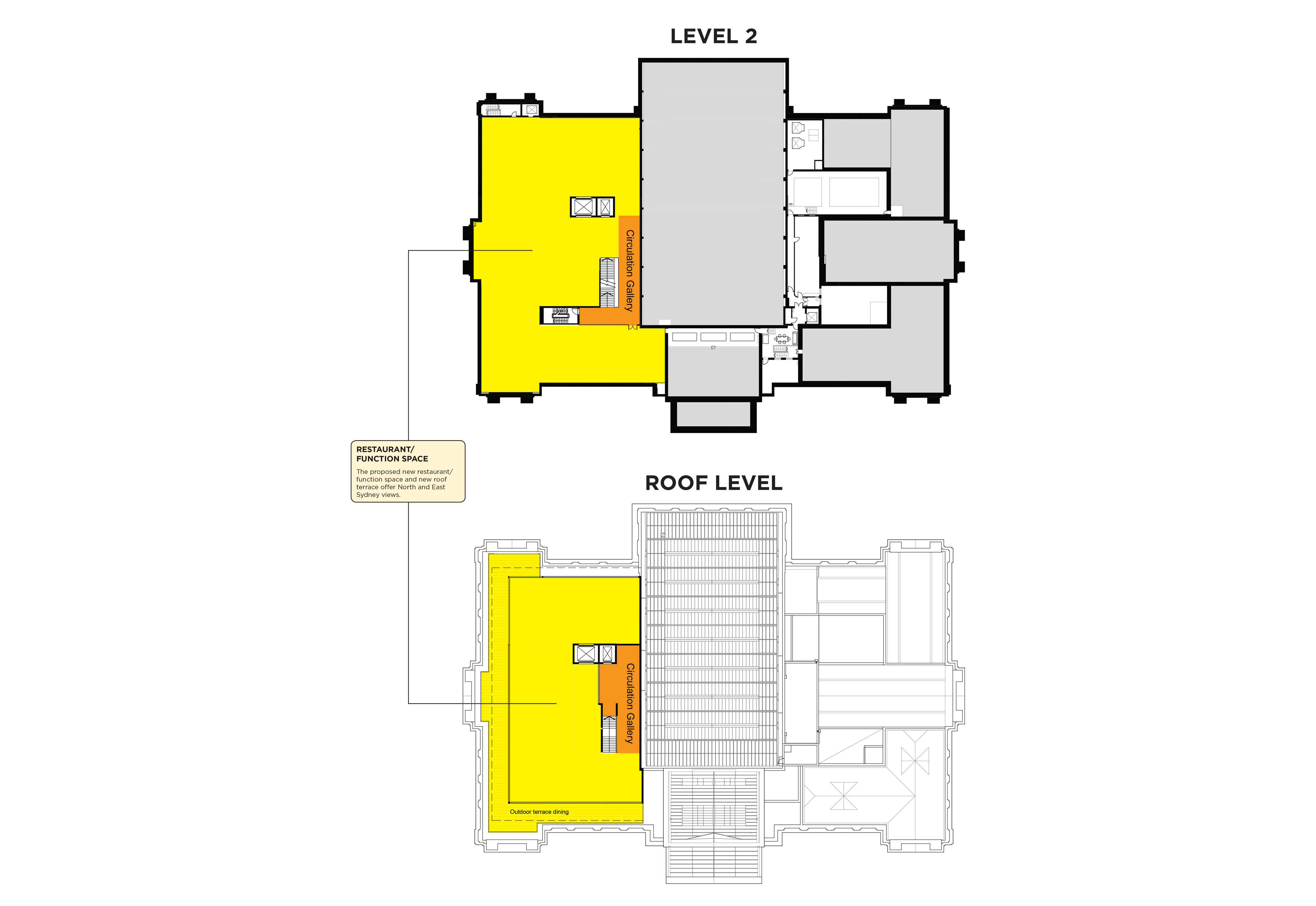 Mitchell building floor plan - Level 2 and Roof