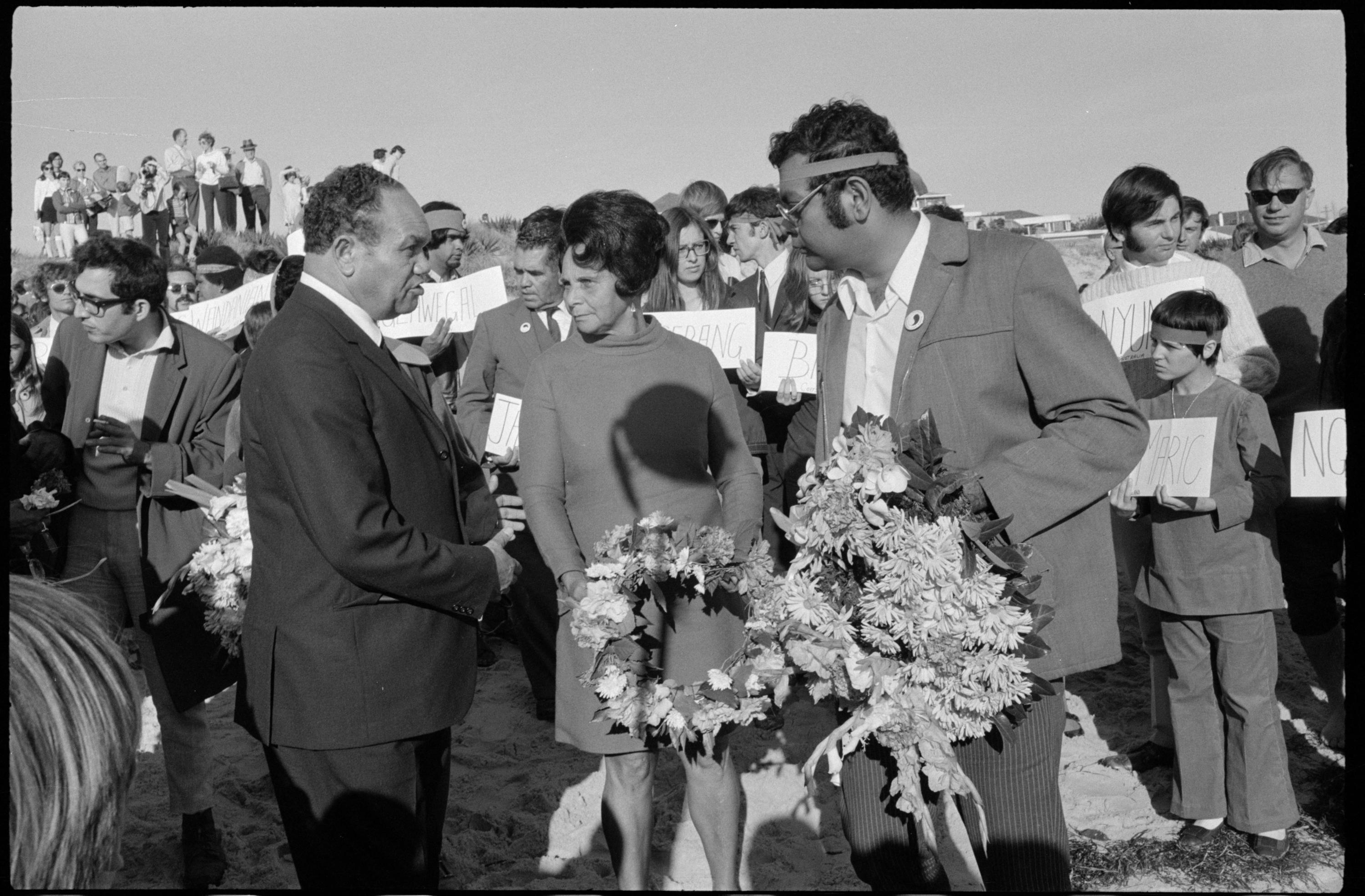 Tribune negatives including meeting of FCAATSI leaders at Sydney Town Hall and protestors at Day of Mourning memorial gathering and procession in Sydney, 28 April 1970-29 April 1970
