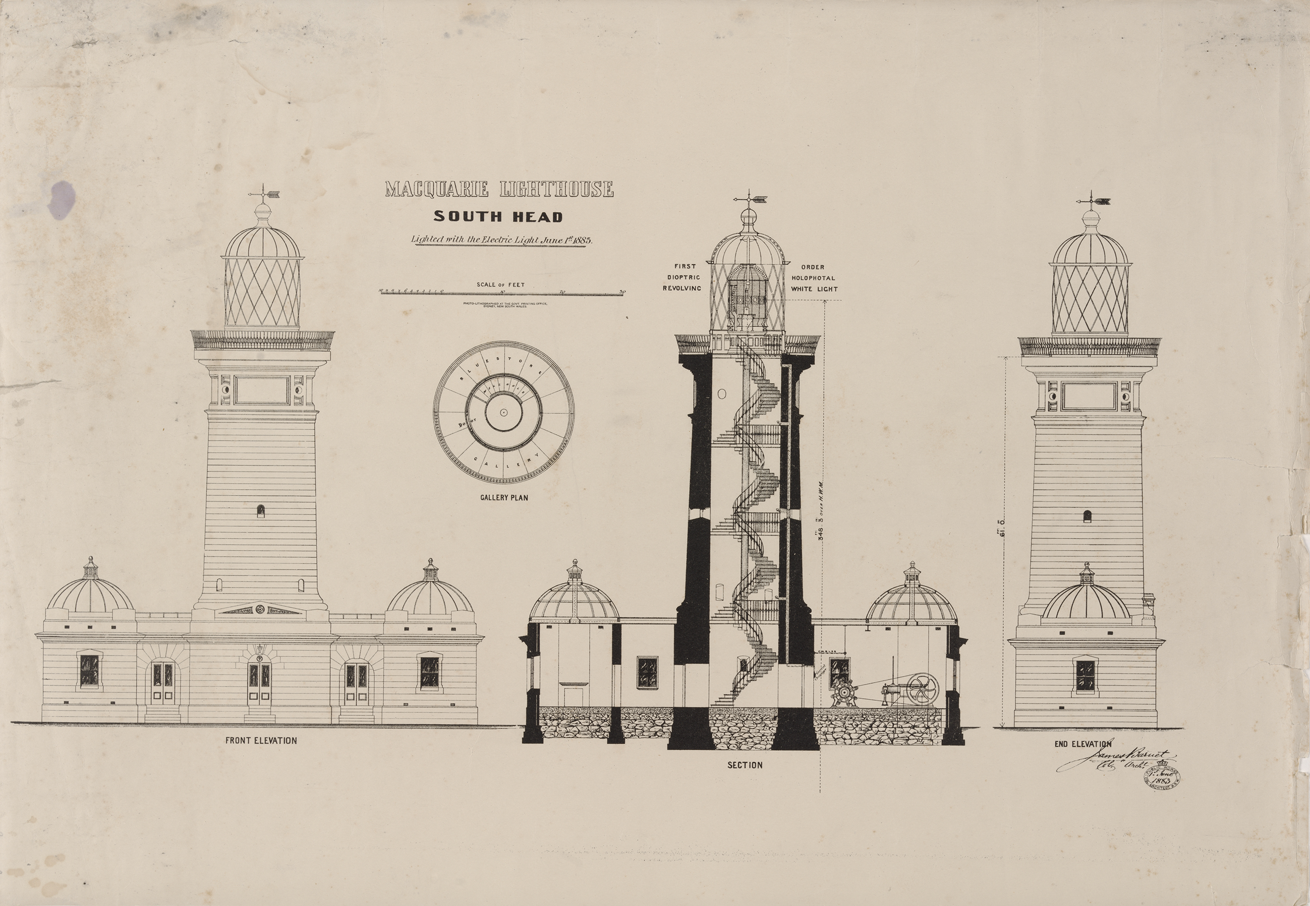 Plan section and elevation of Macquarie Lighthouse South Head, 1885