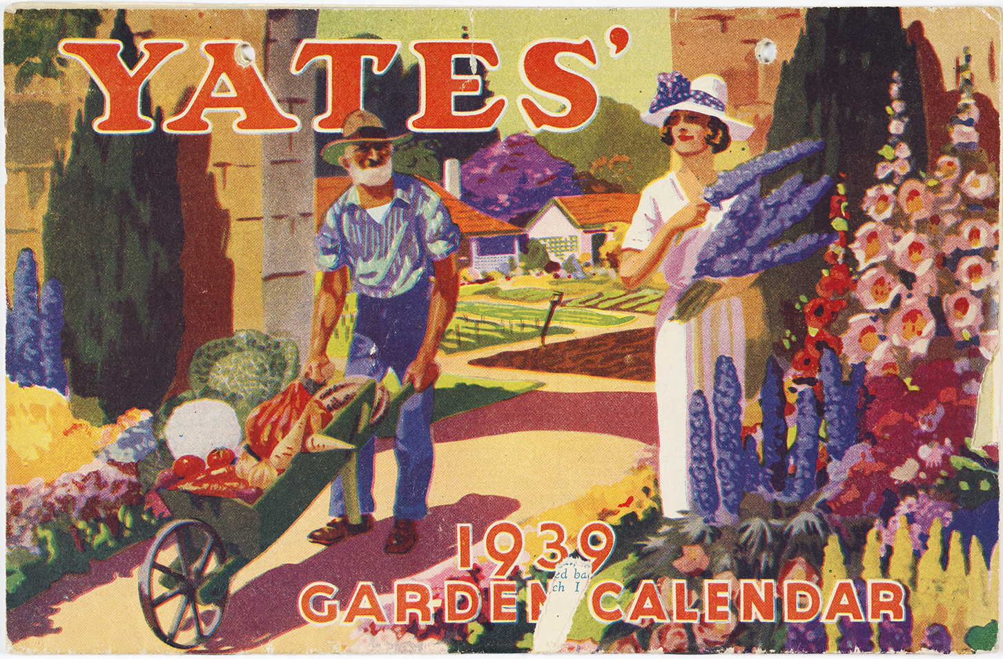 1939 Calendar cover depicting a colourful oil painting of a man and woman in a garden.