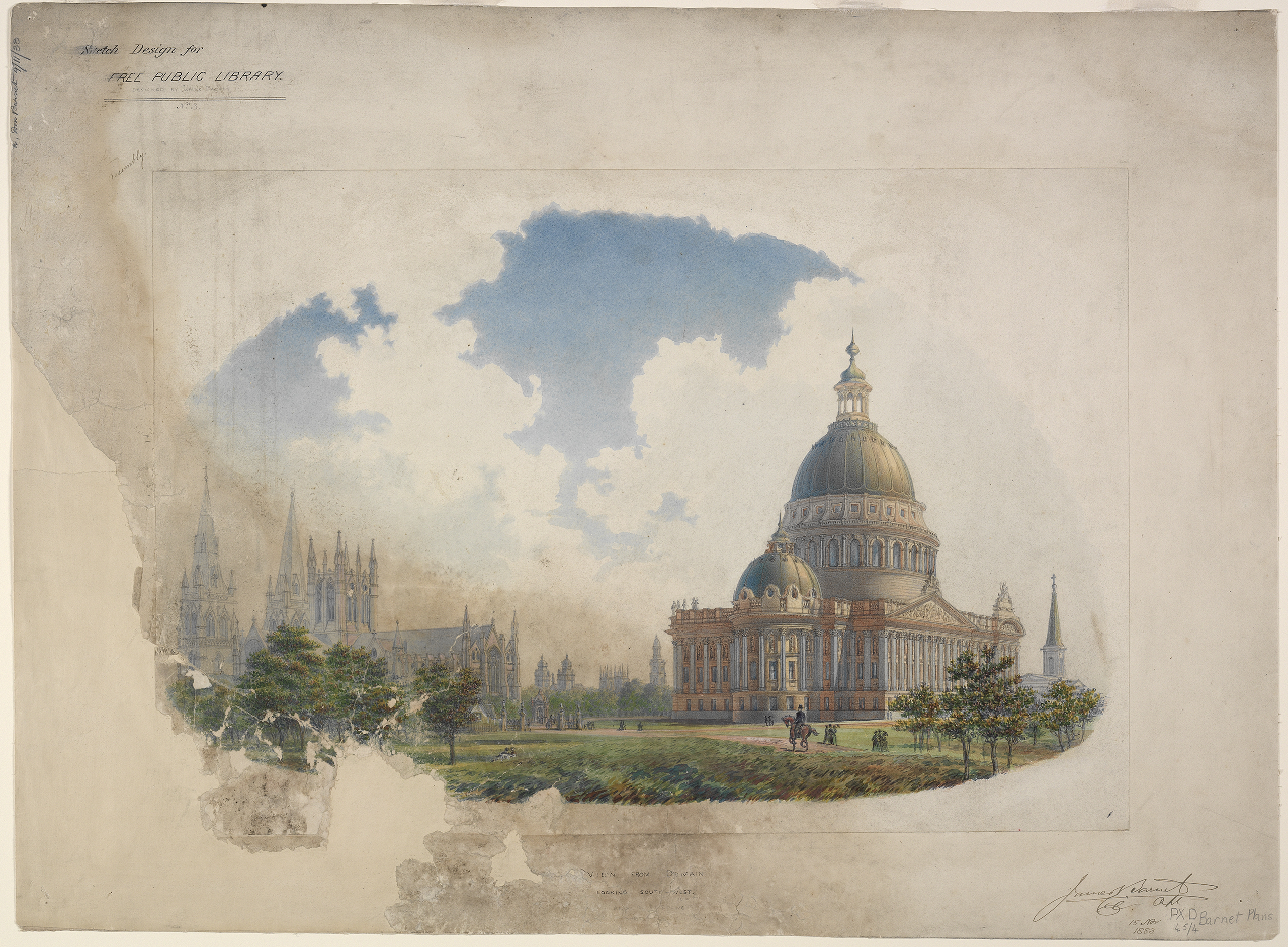 Watercolour and ink sketch of a grand domed building with St Mary's Cathedral appearing in the background and a horse rider galloping across the foreground.