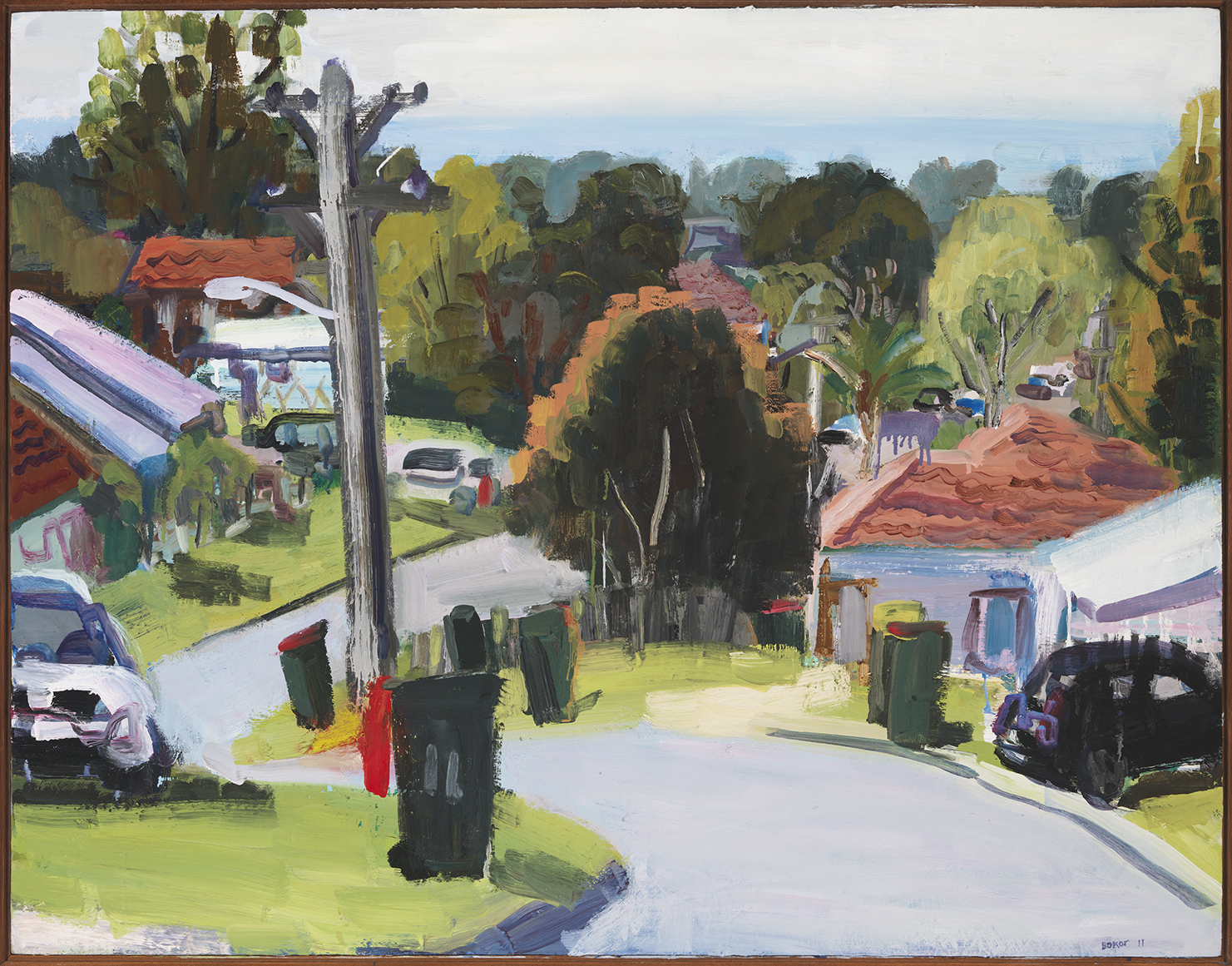 An oil painting of a leafy suburban street, lined with wheelie bins.