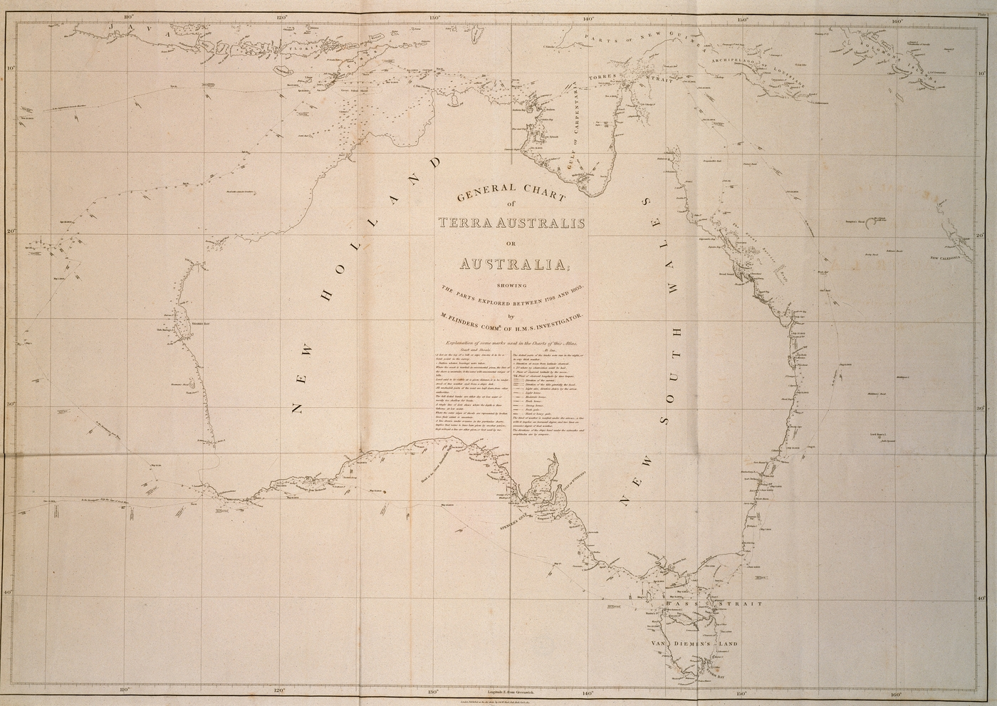 'General Chart of Terra Australis or Australia: showing the parts explored between 1798 and 1803 by Matthew Flinders Commr. of H.M.S. Investigator'