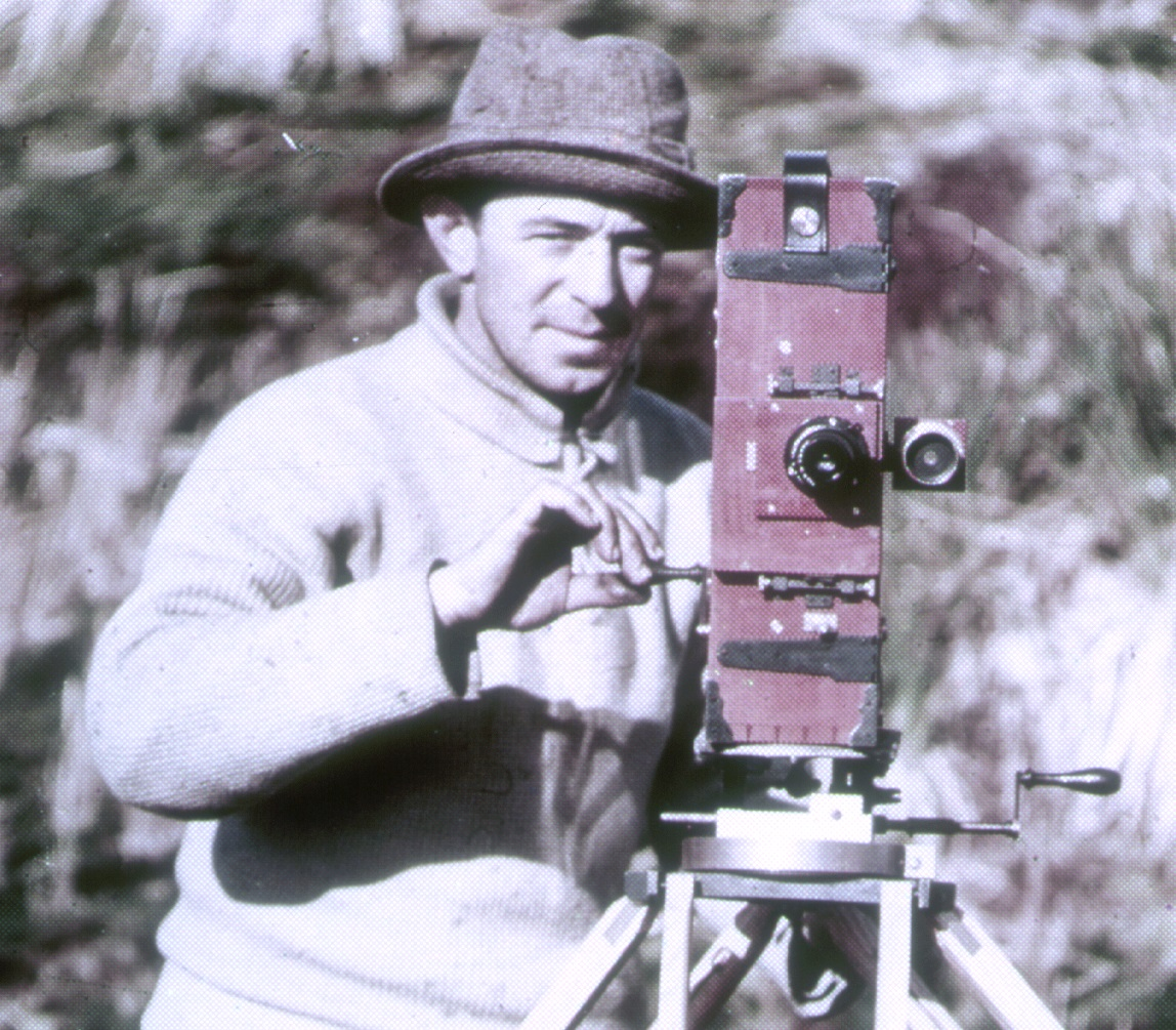 Frank Hurley with his camera on South Georgia Island, 1914.