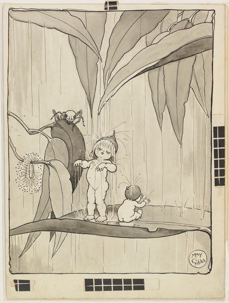 `The blossom was taking her bath' / Volume 02/v: Illustrations for Snugglepot and Cuddlepie: their adventures wonderful / by May Gibbs