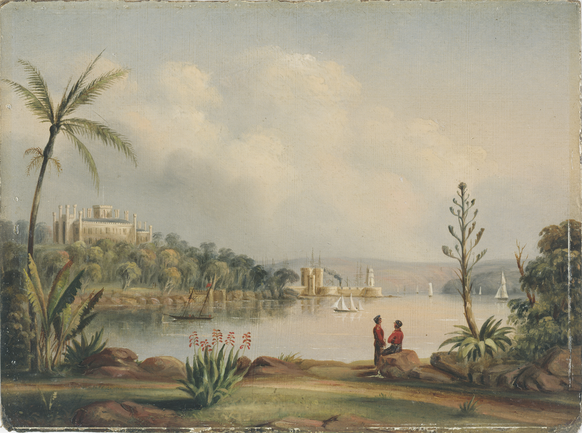 A painting: two soldiers in colonial military dress sit on a rock in the foreground looking across the harbour toward Government House, the top of which appears above the trees on the far shore. Sailboats are dotted across the water.