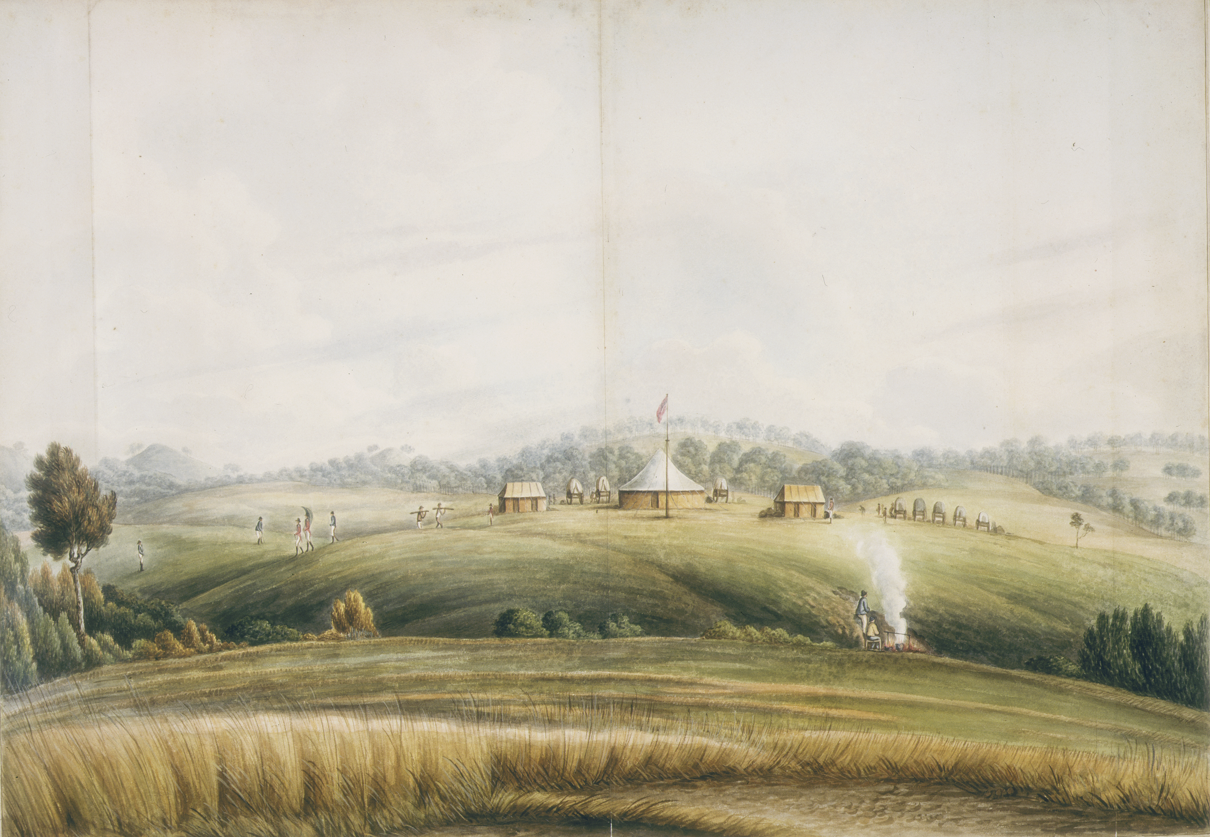A painting of a landscape with early colonial structures on top of a grassy hill surrounded by pastural land. Soldiers and workers can be seen moving amongst the building and parked buggies while two men tend a fire in the foreground pasture.