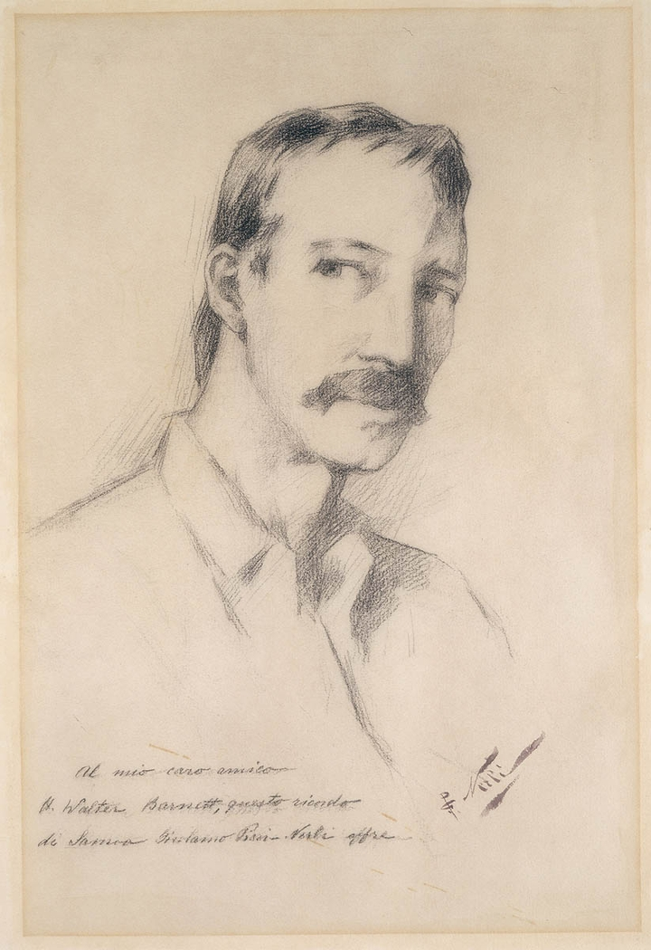A charcoal drawing of Robert Louis Stevenson, ca. 1892 / sketched by Girolamo Pieri Ballati