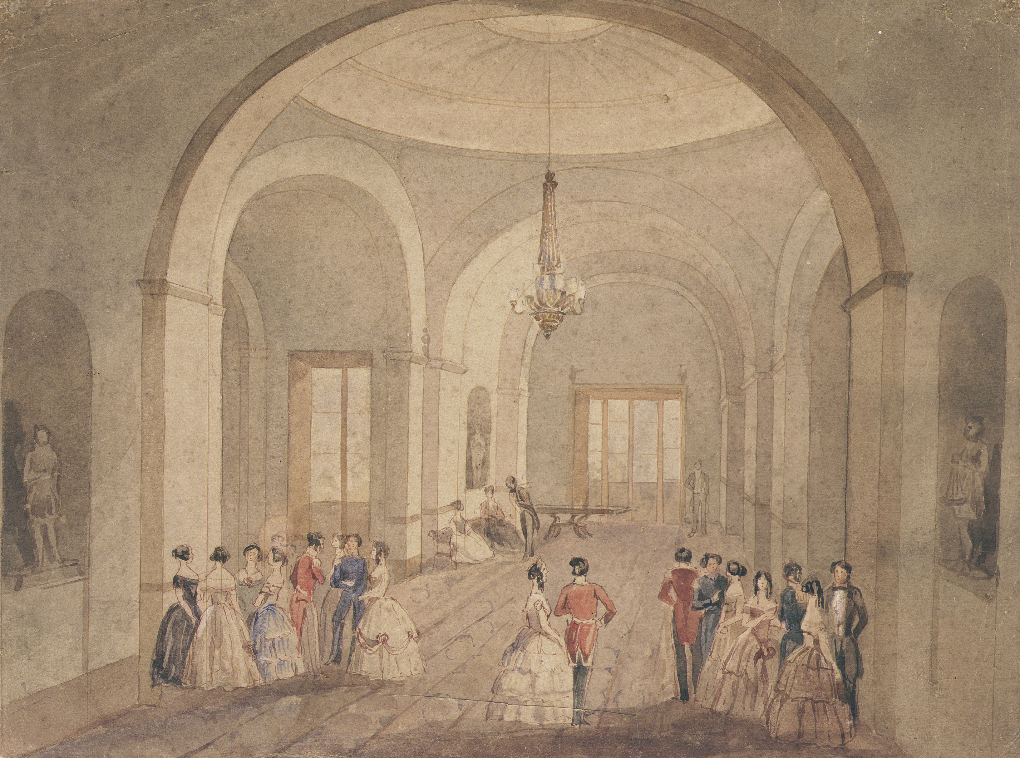 An illustration of a social hall, with ladies in dresses accompanied by men in tailcoats.