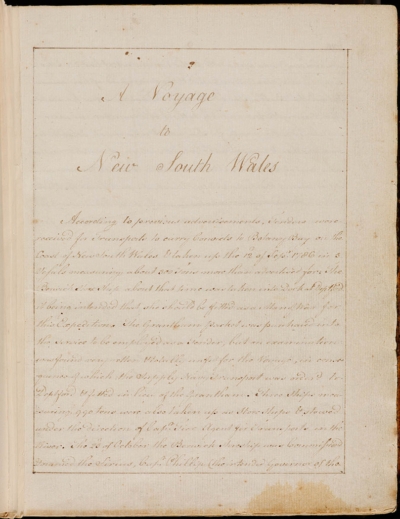 William Bradley - Journal. Titled `A Voyage to New South Wales', December 1786 - May 1792; compiled 1802+
