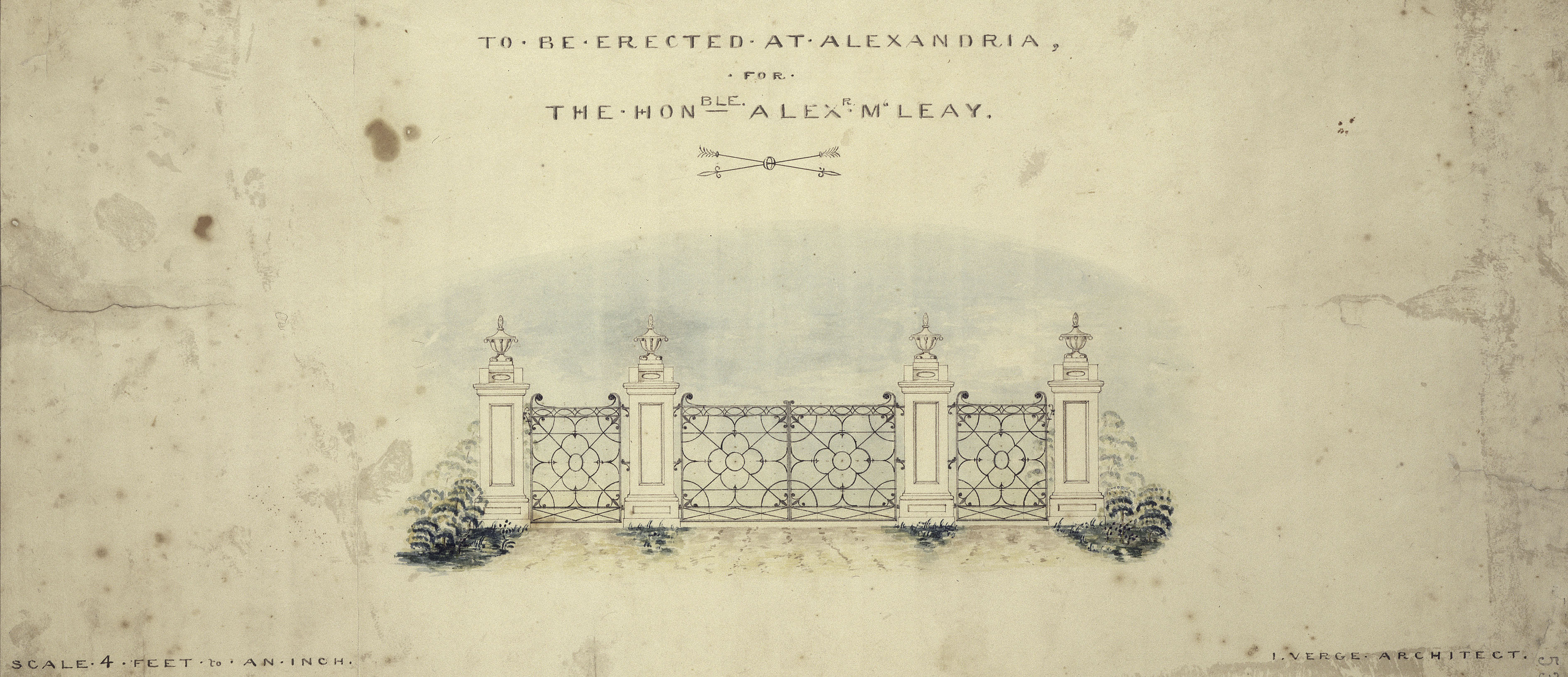 Sketch, to scale, of a gate.