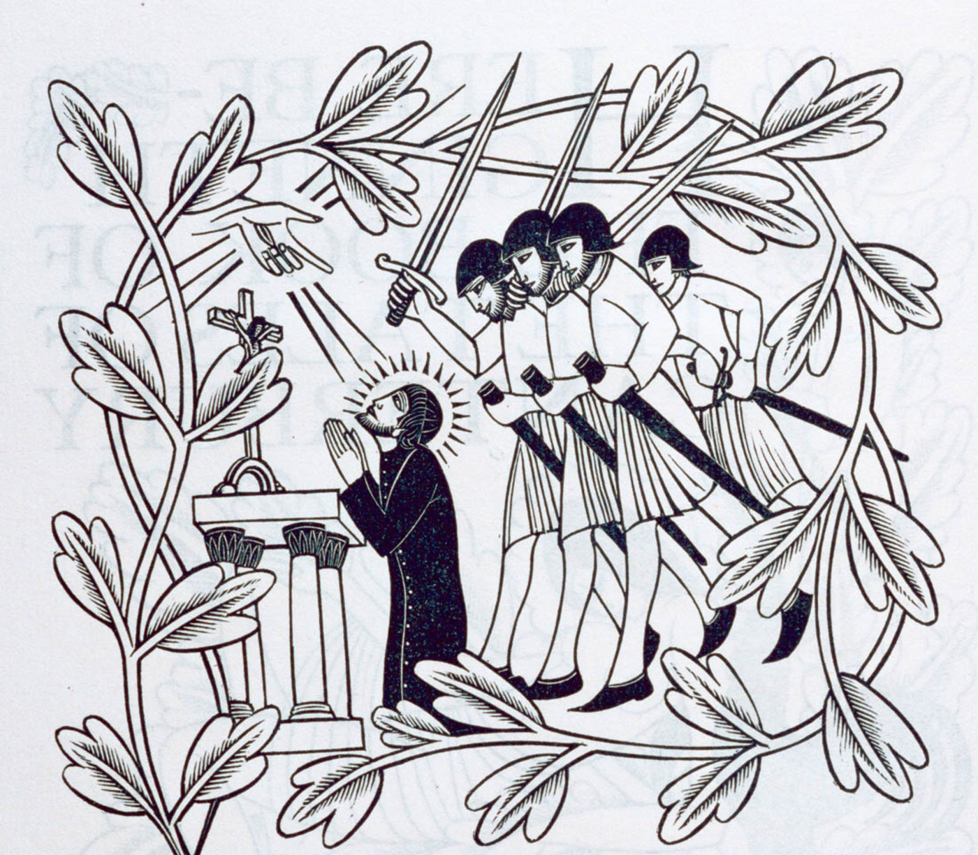 Black and white illustrating of man kneeling at an alter, four knights at his back, surrounded by branch of leaves.