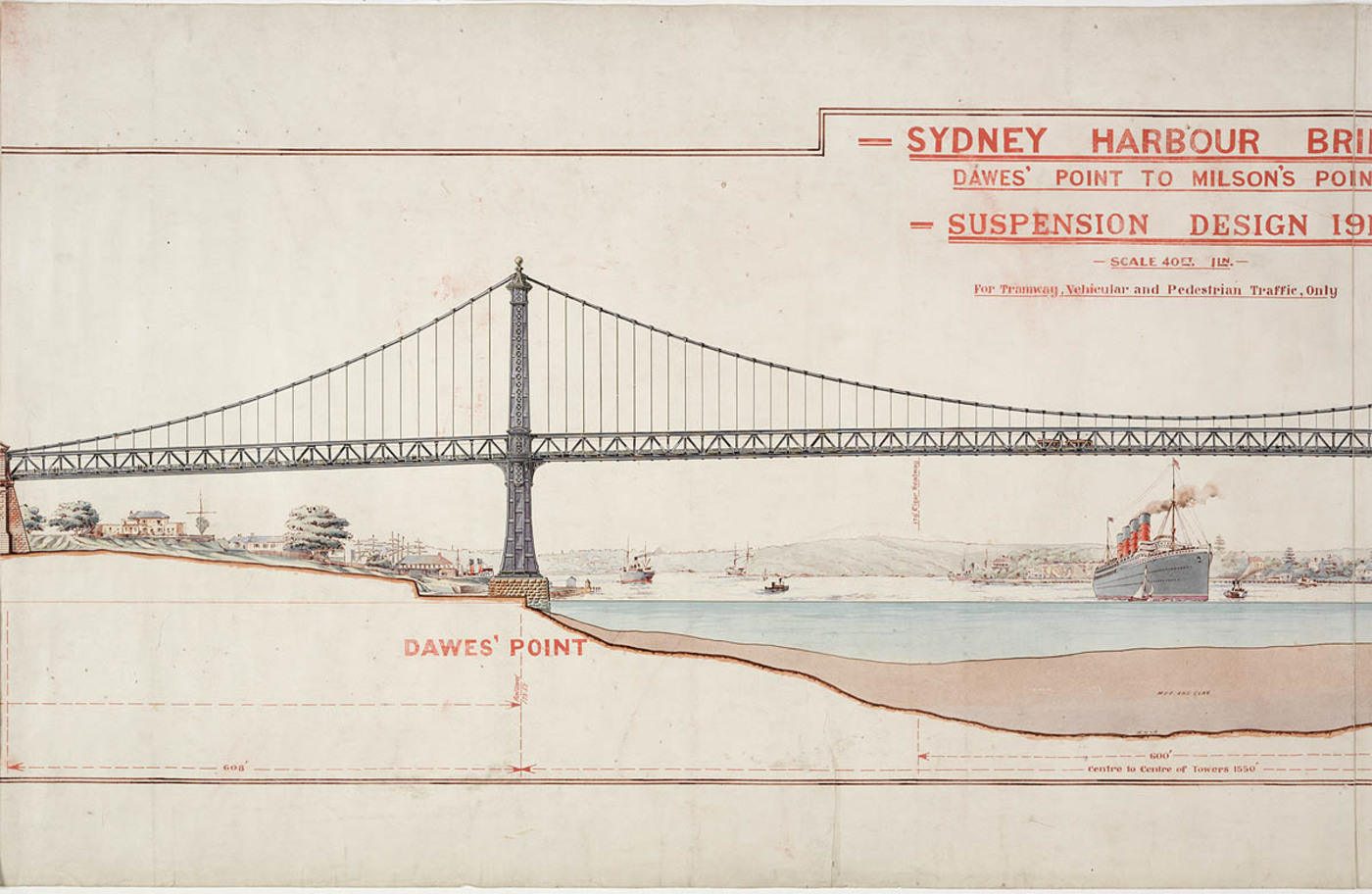 Colour plan of proposed bridge design for Dawes' Point to Milson's Point.