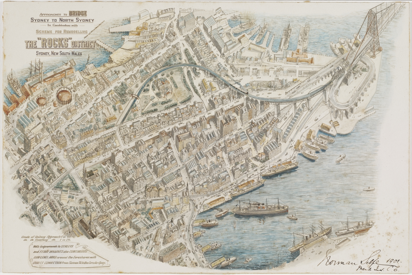 "Approaches to bridge Sydney to North Sydney in combination with scheme for remodelling the ""Rocks"" district / ariel view of remodelling proposal 1891"