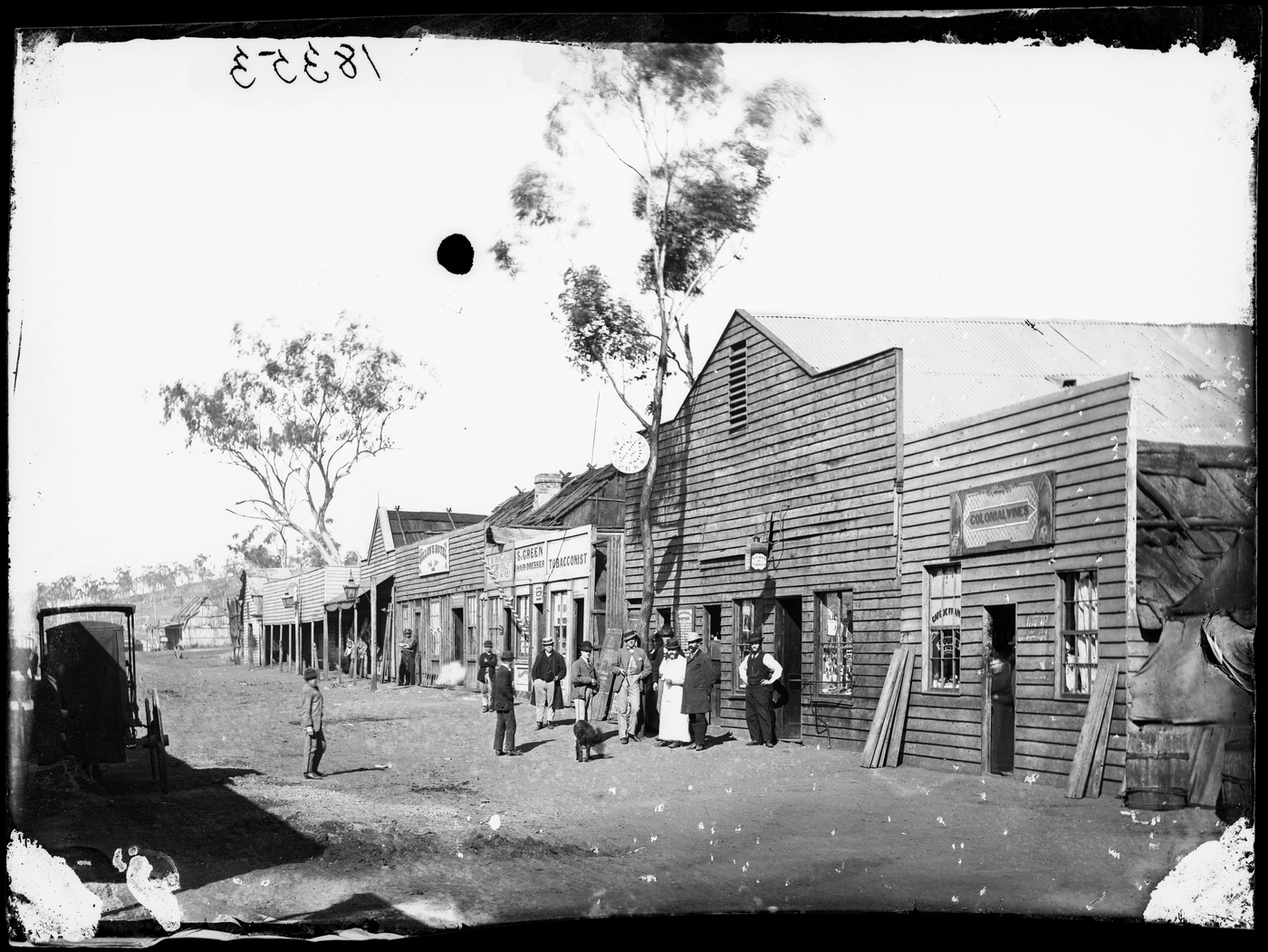 Mayne Street, Gulgong, looking east from Colonial Wines, C. Giugni jeweller, Prince of Wales Theatre, S.Green's Hairdressing Salon and Dillon's Hotel