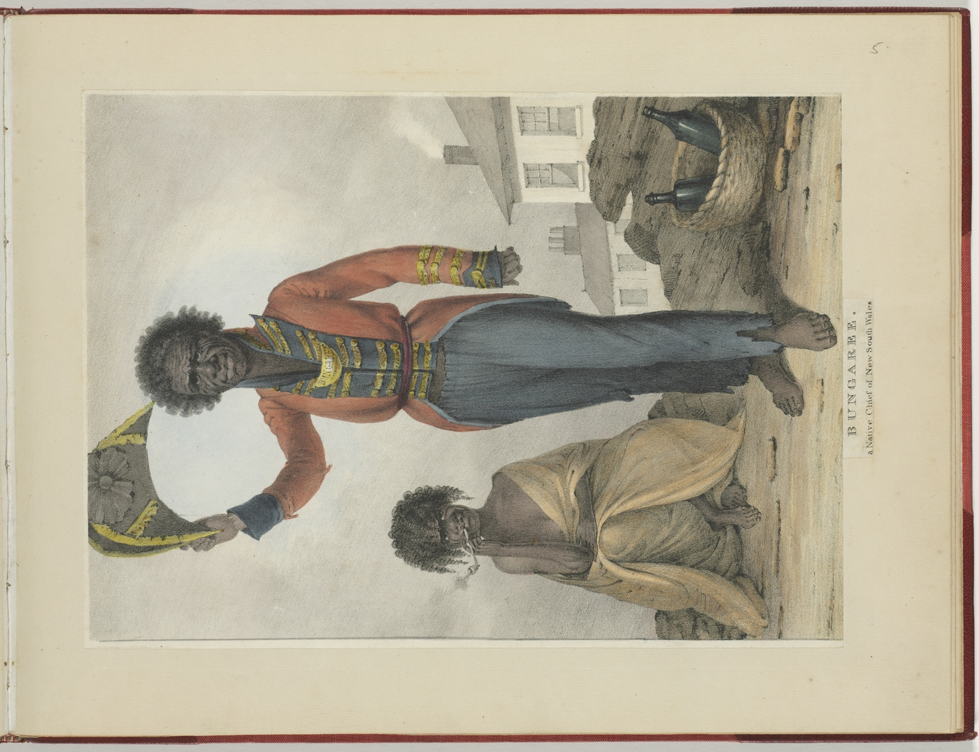 Bungaree. a Native Chief of New South Wales by Augustus Earle, hand-coloured lithograph, published in his Views in New South Wales and Van Diemens Land, 1830