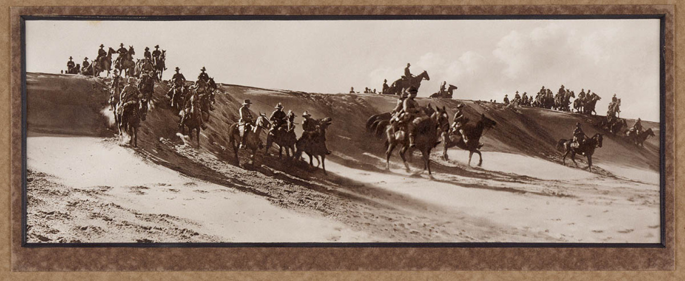 The advance through the desert with the Australian Light Horse in Palestine, 1918.