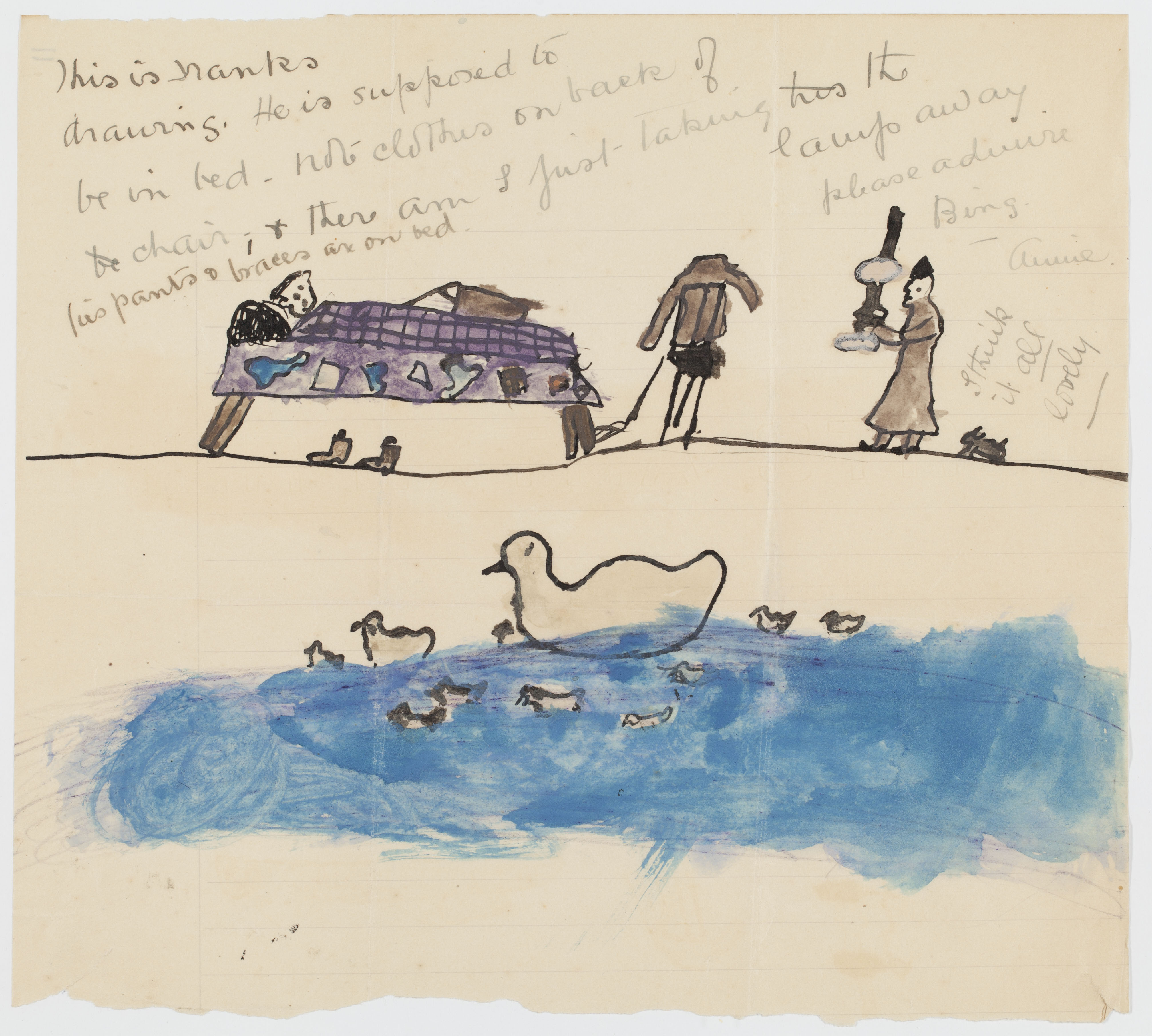A drawing depicting a child's bedtime and ducklings with mother duck on a pond.