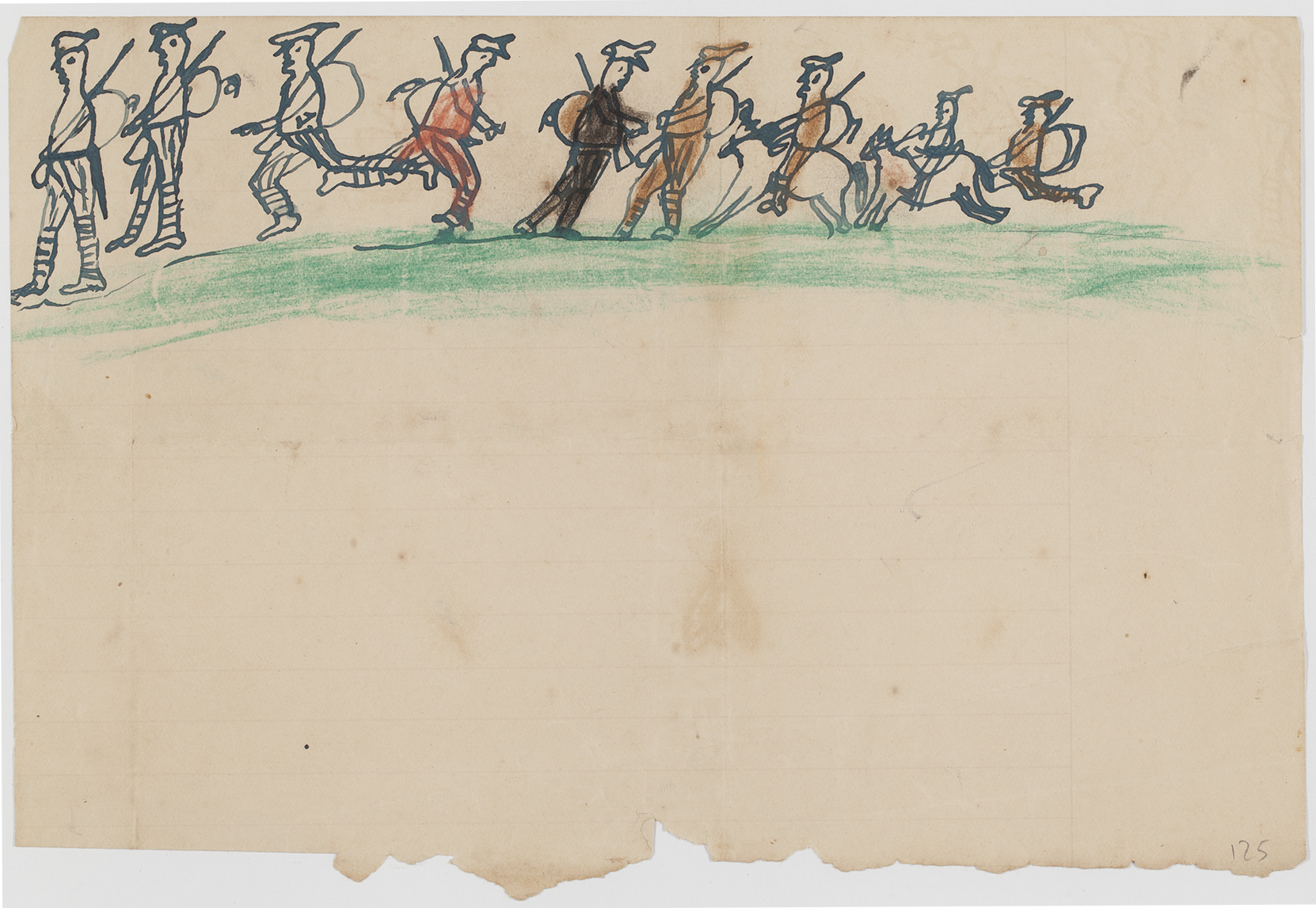 A child's pencil drawing of soldiers marching in a line across the top of yellowed page, with a torn bottom.