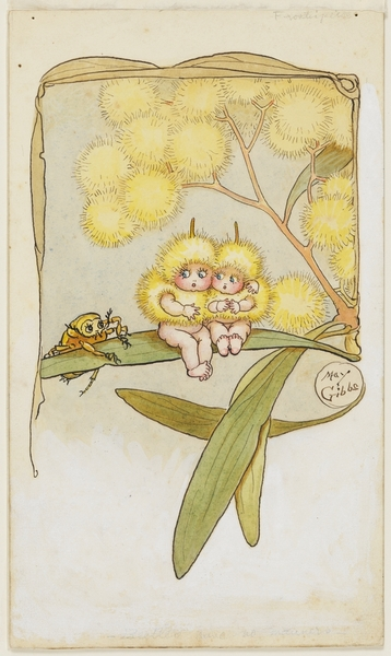 Front cover of Wattle Babies, watercolour by May Gibbs, 1918.