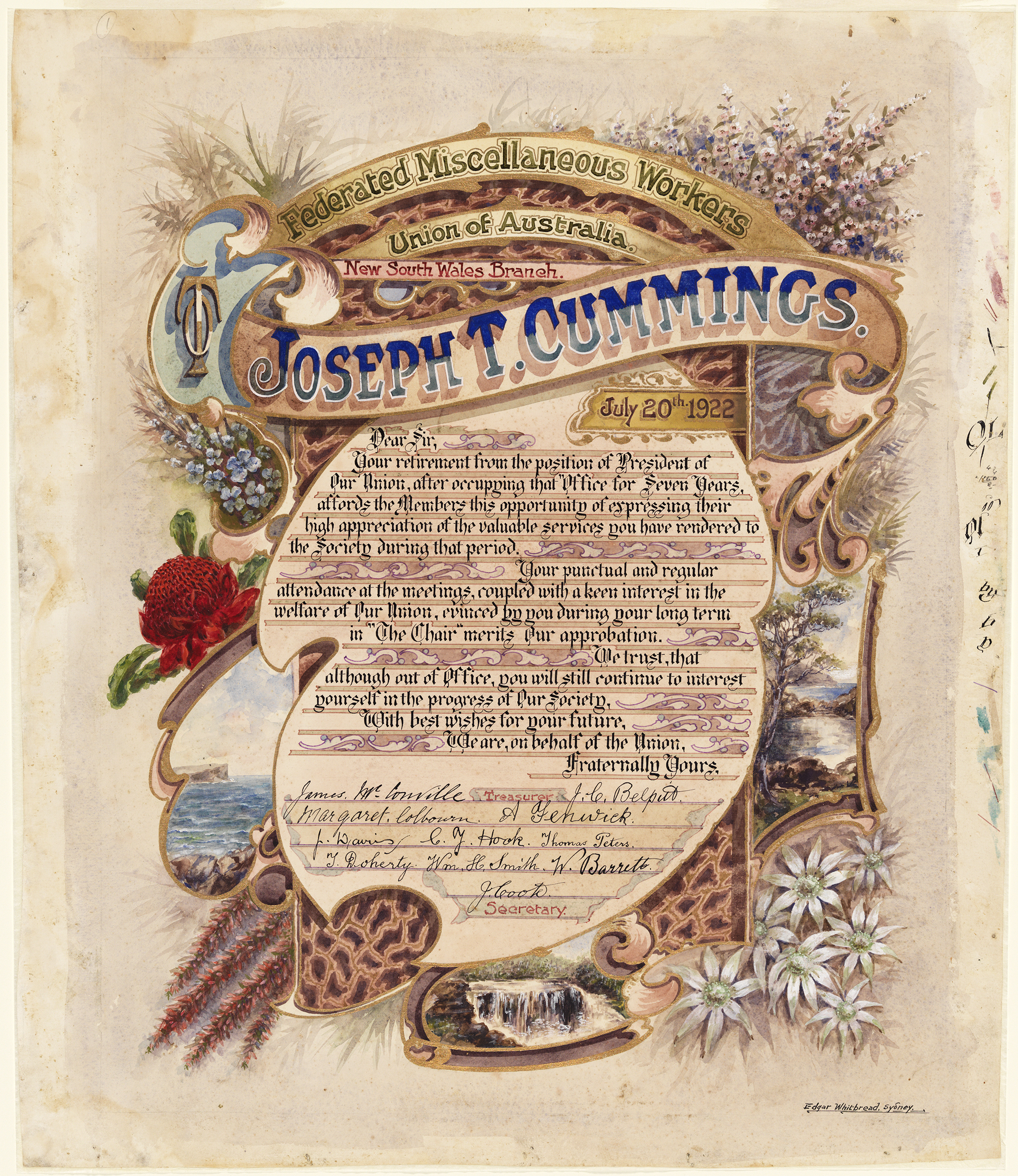 A hand illustrated illuminated address, made out to Joseph T Cummings dated July 20, 1922