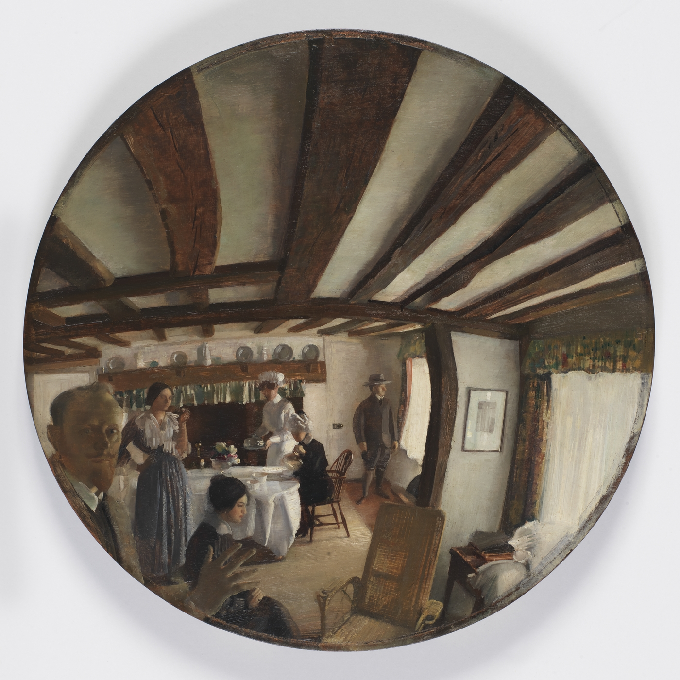 A painting in the shape of a circle, showing the scene of a tea room in a perspective similar to the modern fisheye lens.