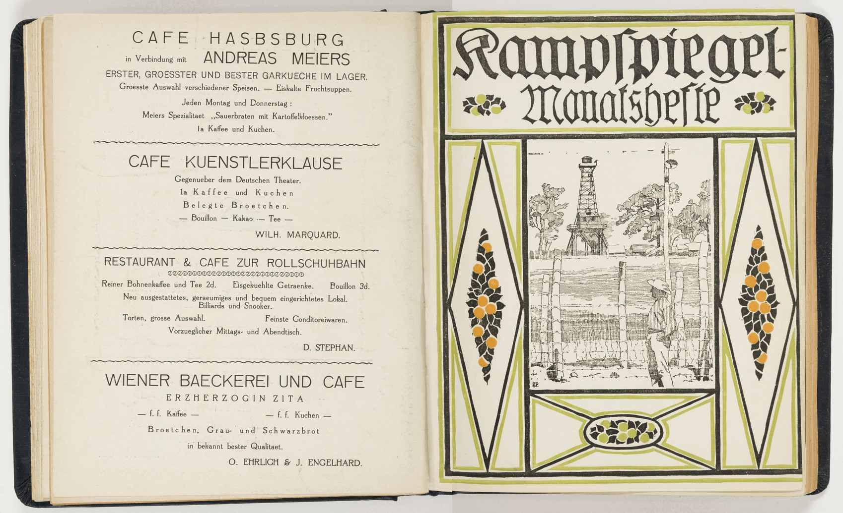 Book open to a page showing advertisements in German.