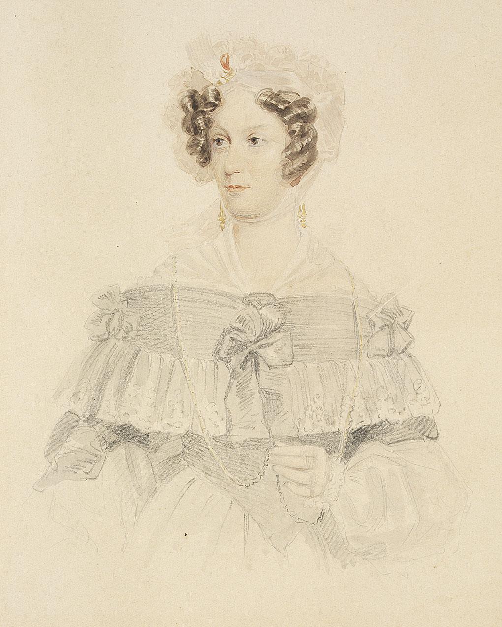 Sketch portrait of a colonial-era woman.