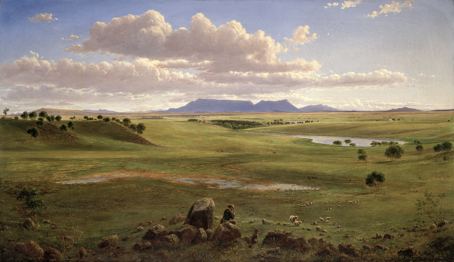 An oil painting: A shepherd and his flock sit on a stone wall in the foreground and look across a wide view of green pastural land. The shadow of a mountain sits on the distant horizon.