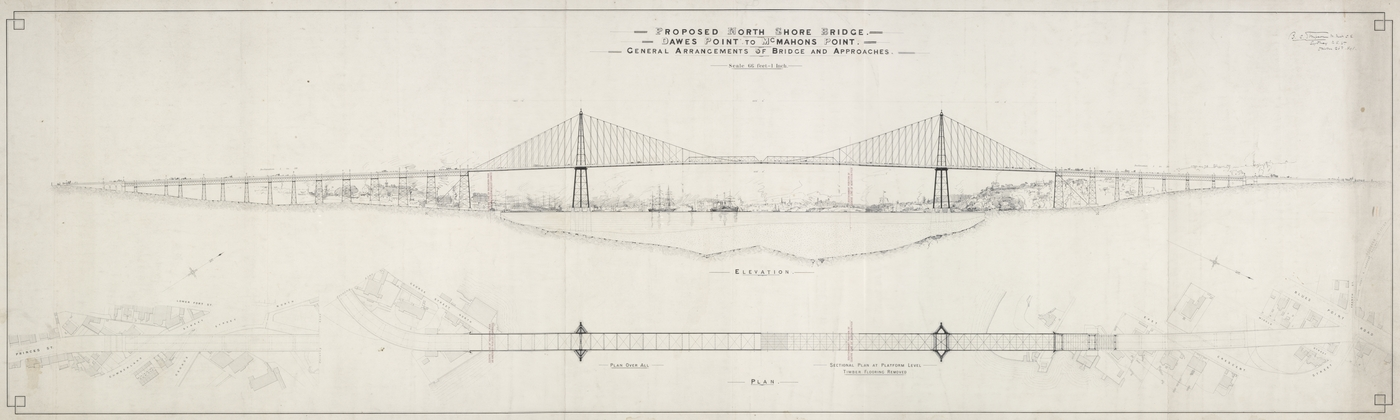 Black and white plan of proposed bridge for Sydney Harbour.
