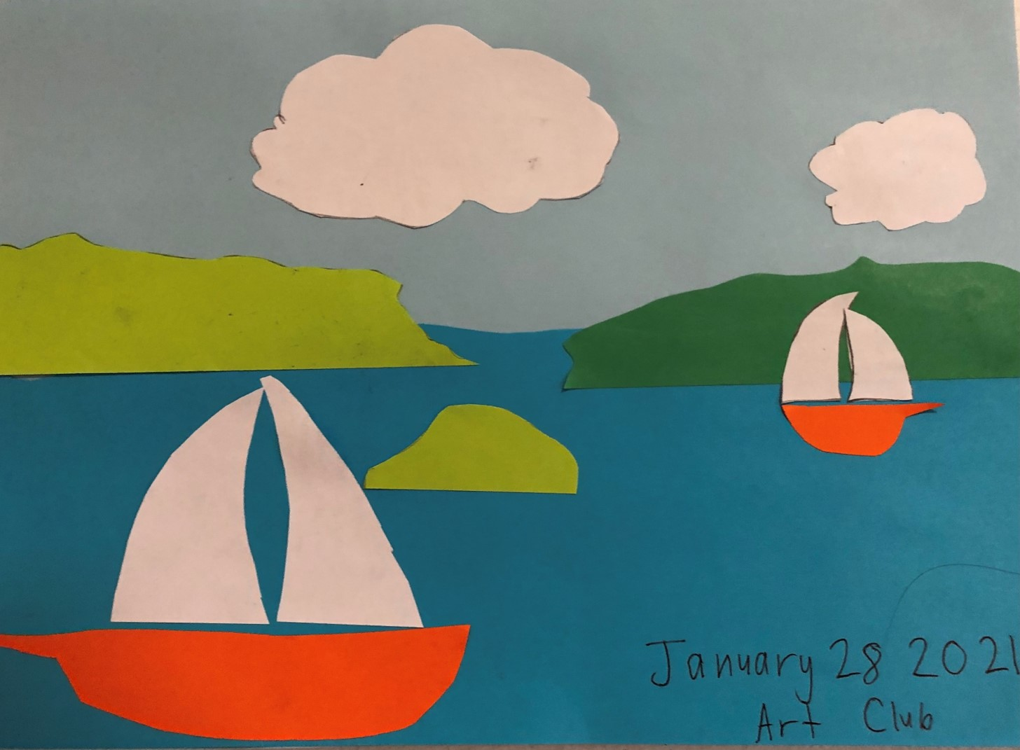 Collage of sail boats at sea