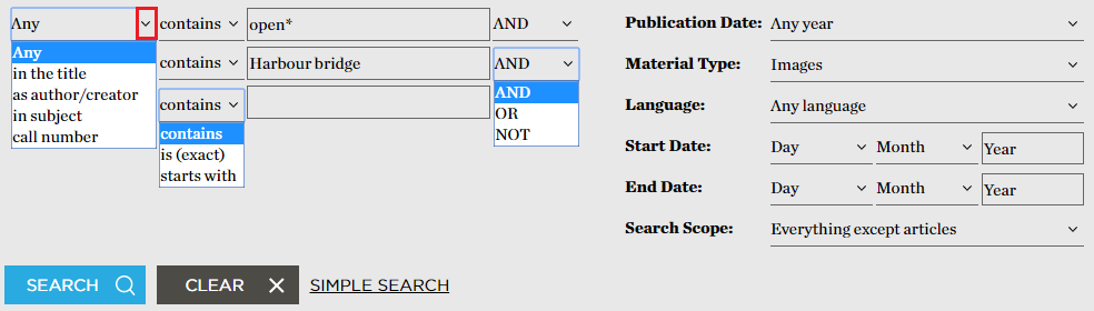 Advanced search lets you make your search more specific by selecting how to combine your search terms.