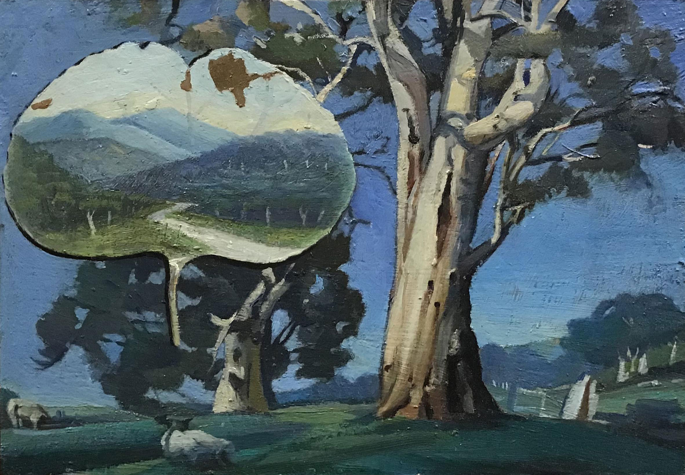 Hadyn Wilson painting in response to Cattle under gum trees by Hans Heysen, 1932